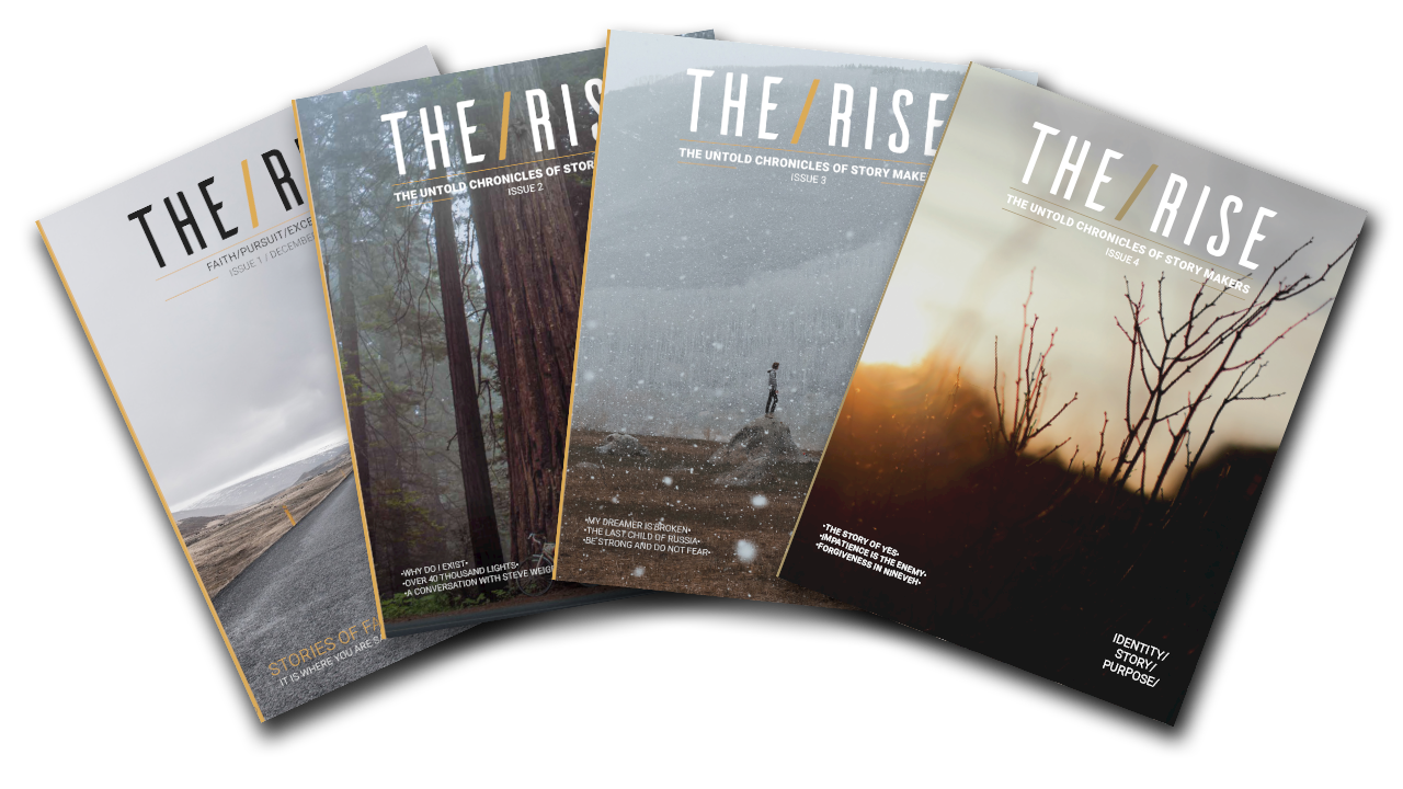 - THE/RISE is a community of believers sharing honest thoughts, perspectives, and stories on faith and life. Check out our beautiful community-curated print magazine to read stories and perspectives from real people in THE/RISE community. These are written perspectives from average people all over the world sharing their thoughts and stories together. Subscribe to join the conversation.