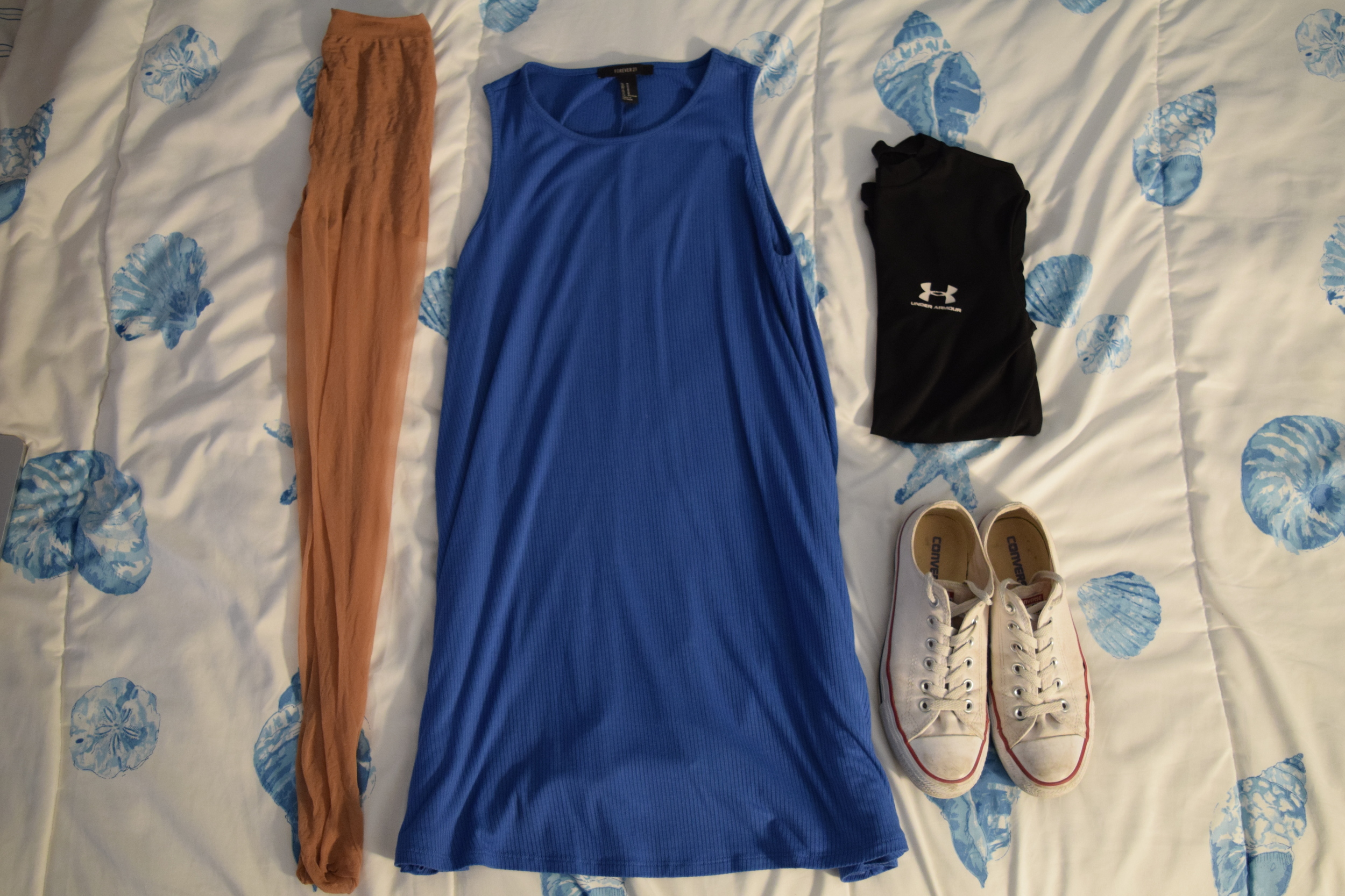 Dress  (similar). Stockings (from CVS).  Undershirt  (similar).  Sneakers .