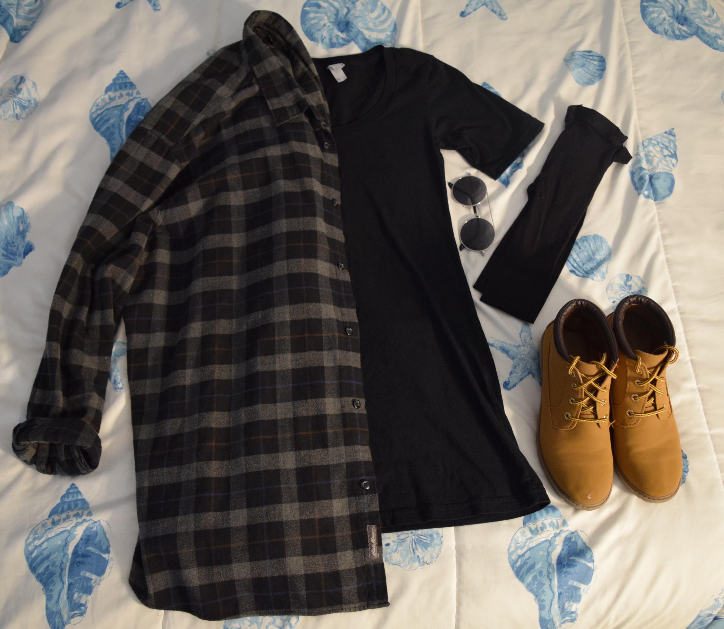 Flannel (it's from  Eddie Bauer  I just can't find the exact shirt).  Dress . Boots (aren't being sold anymore  :(  ).  Tights .  Sunglasses  (similar)