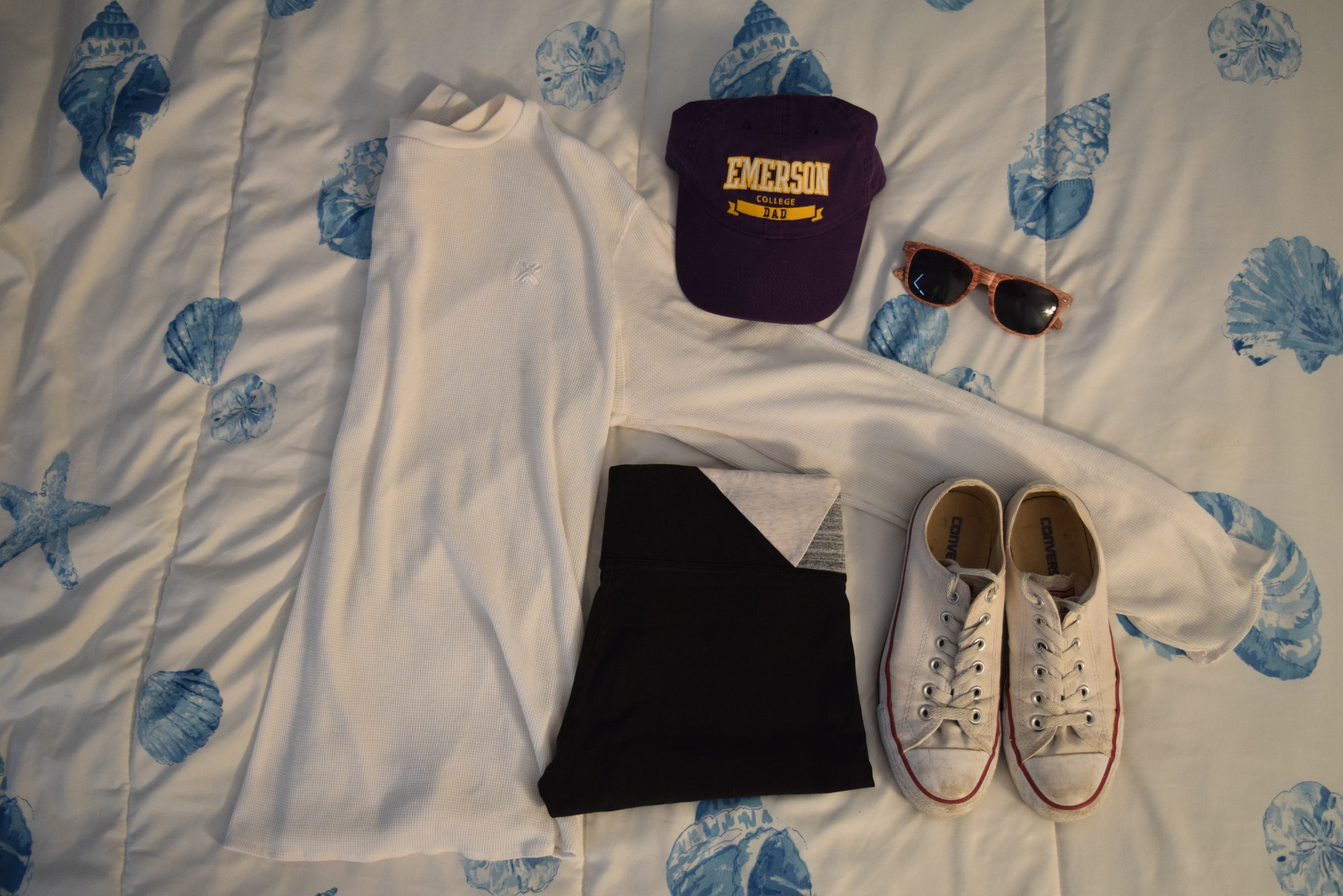 Shirt (this one is from  Armani  but it's pretty basic so you can get it anywhere).  Hat .  Leggings  (similar).  Sneakers .  Sunglasses  (mine are lighter).
