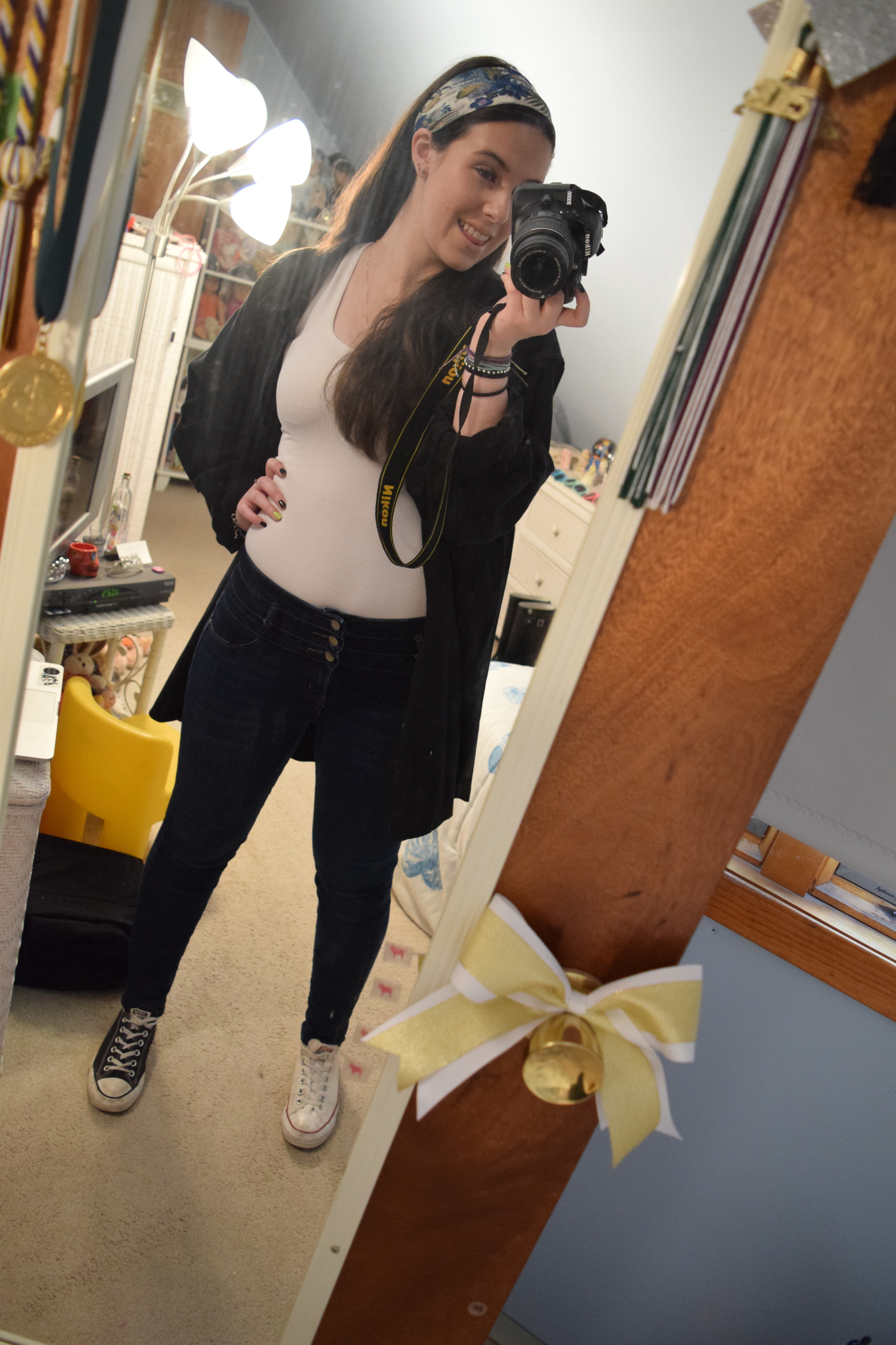 When will I learn to clean my mirror and not be awkward?!My headband is from  Garment District .