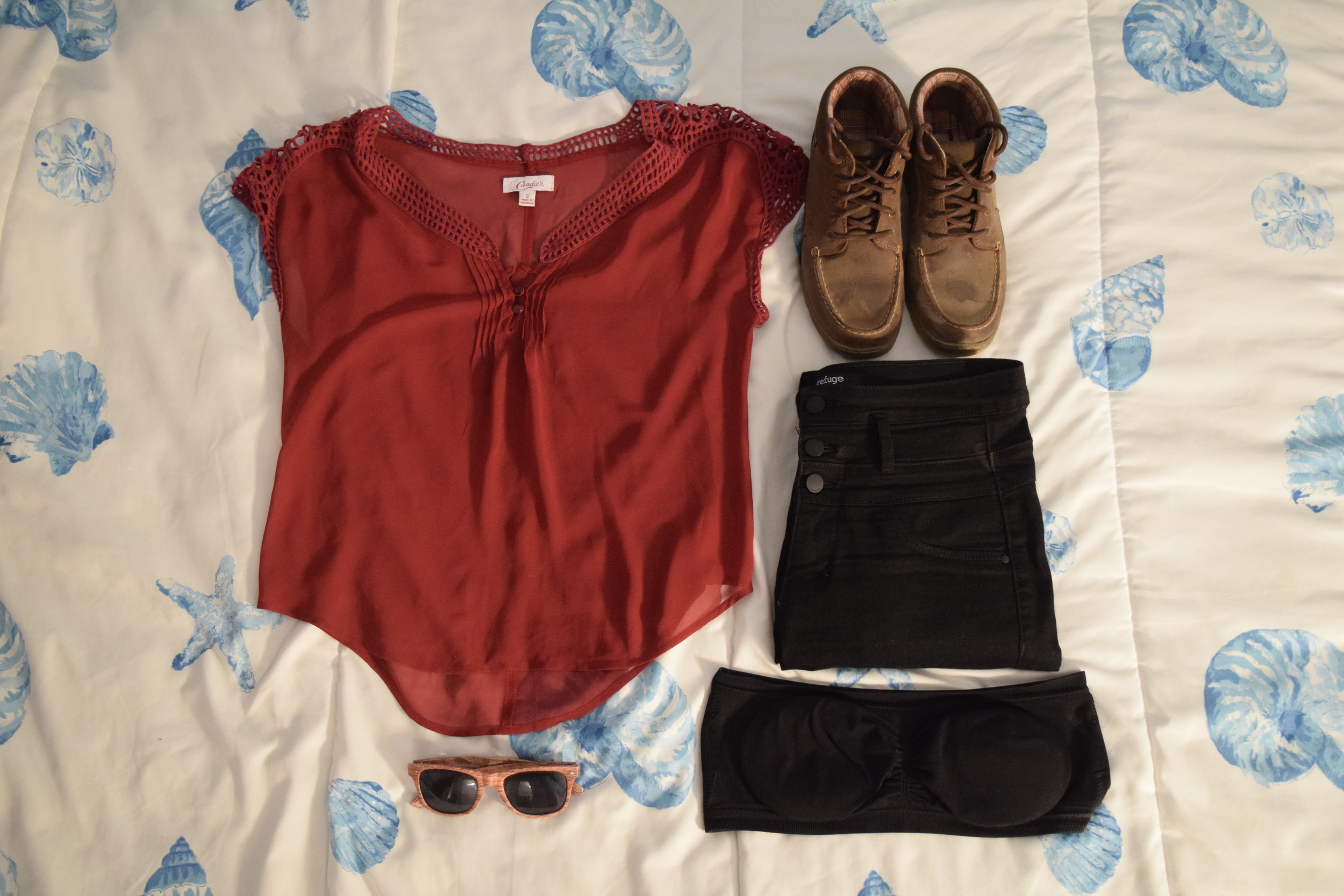 Shirt (no longer being sold by  Candie's ).  Jeans . Boots (no clue).  Bandeau .  Sunglasses  (mine are a bit lighter).