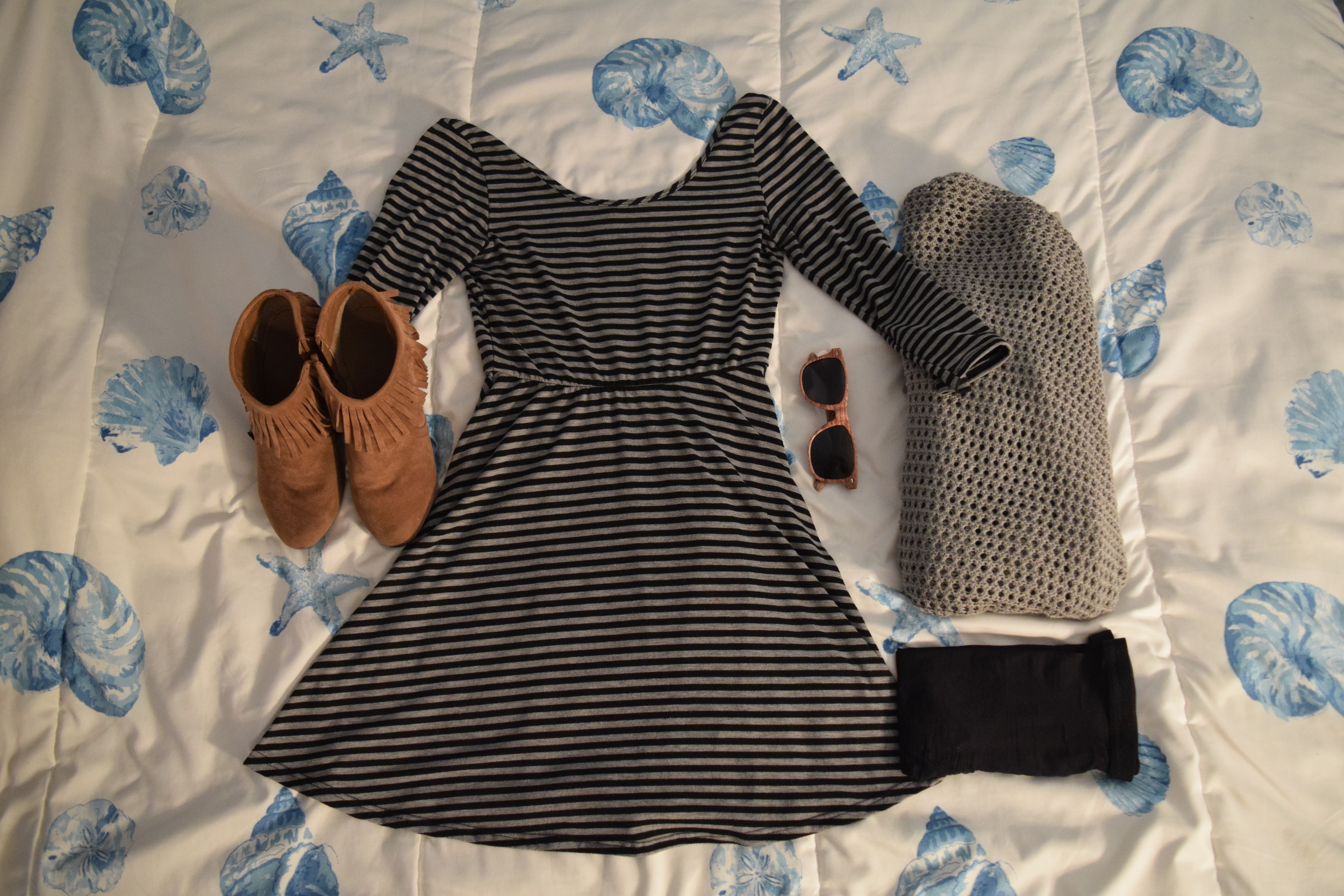 Dress (no longer being sold at  dELiA*s ).  Shoes  (similar).  Tights . Sweater (no longer being sold at  The Gap ).  Sunglasses  (mine are a bit lighter).