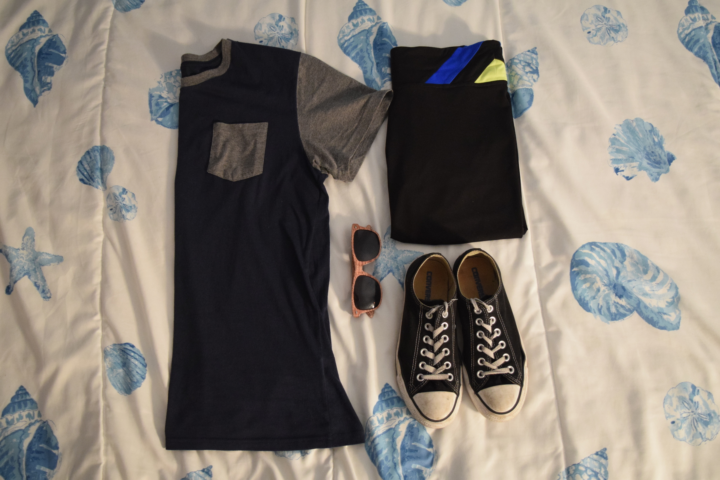 Shirt .  Leggings  (similar).  Sneakers .  Glasses  (mine are lighter).