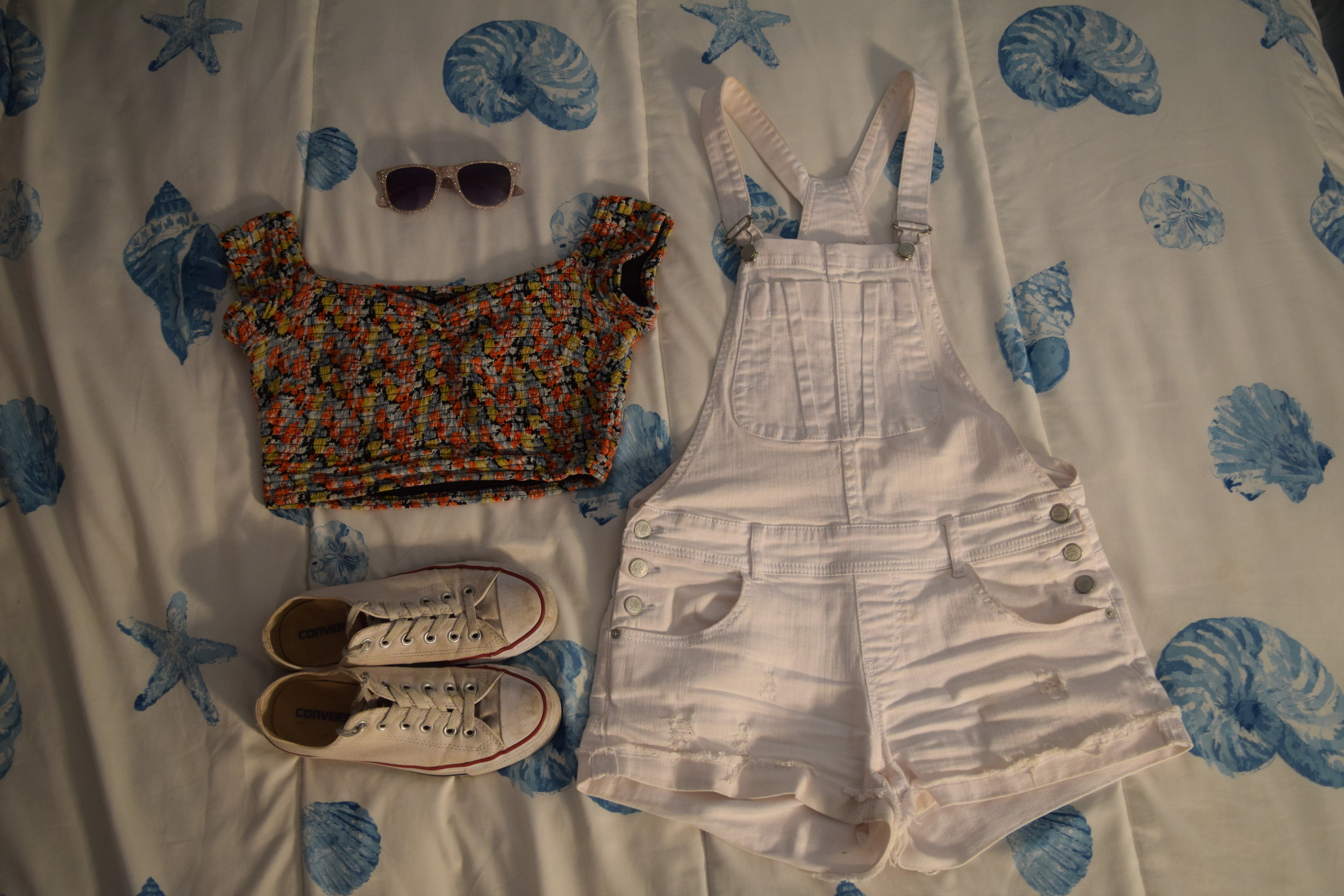 Top  (similar). Overalls (no longer being sold by  American Rag ).  Sneakers . Sunglasses (I have no clue where I got these I'm so sorry).