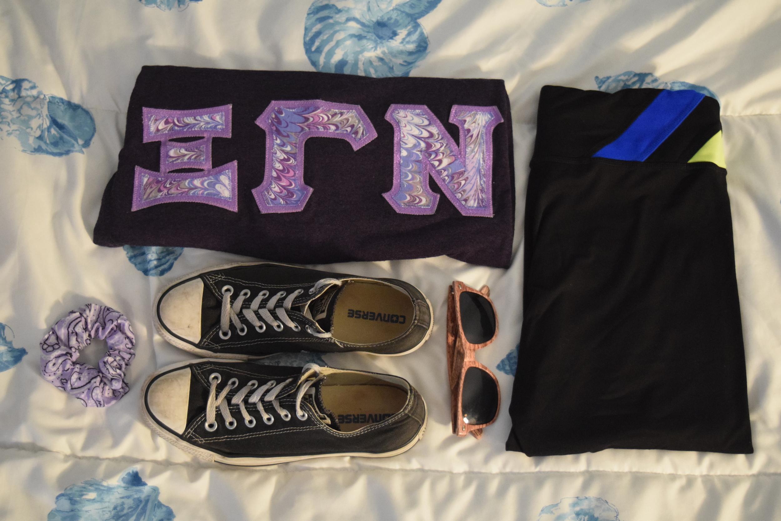 Shirt .  Leggings  (similar).  Sneakers .  Sunglasses  (mine are a bit lighter).  Scrunchie .