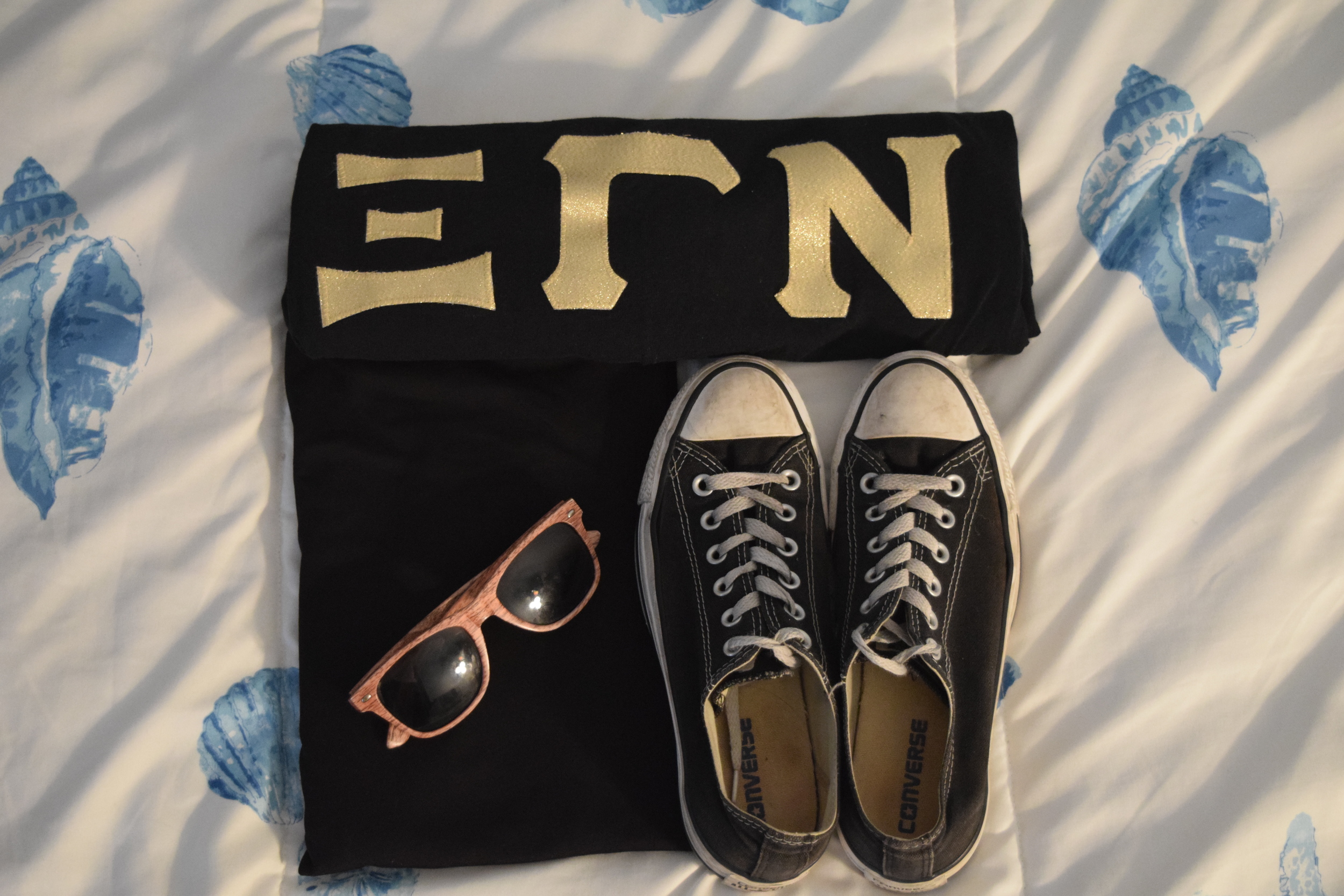 Shirt .  Leggings  (similar).  Sneakers .  Sunglasses  (mine are lighter).