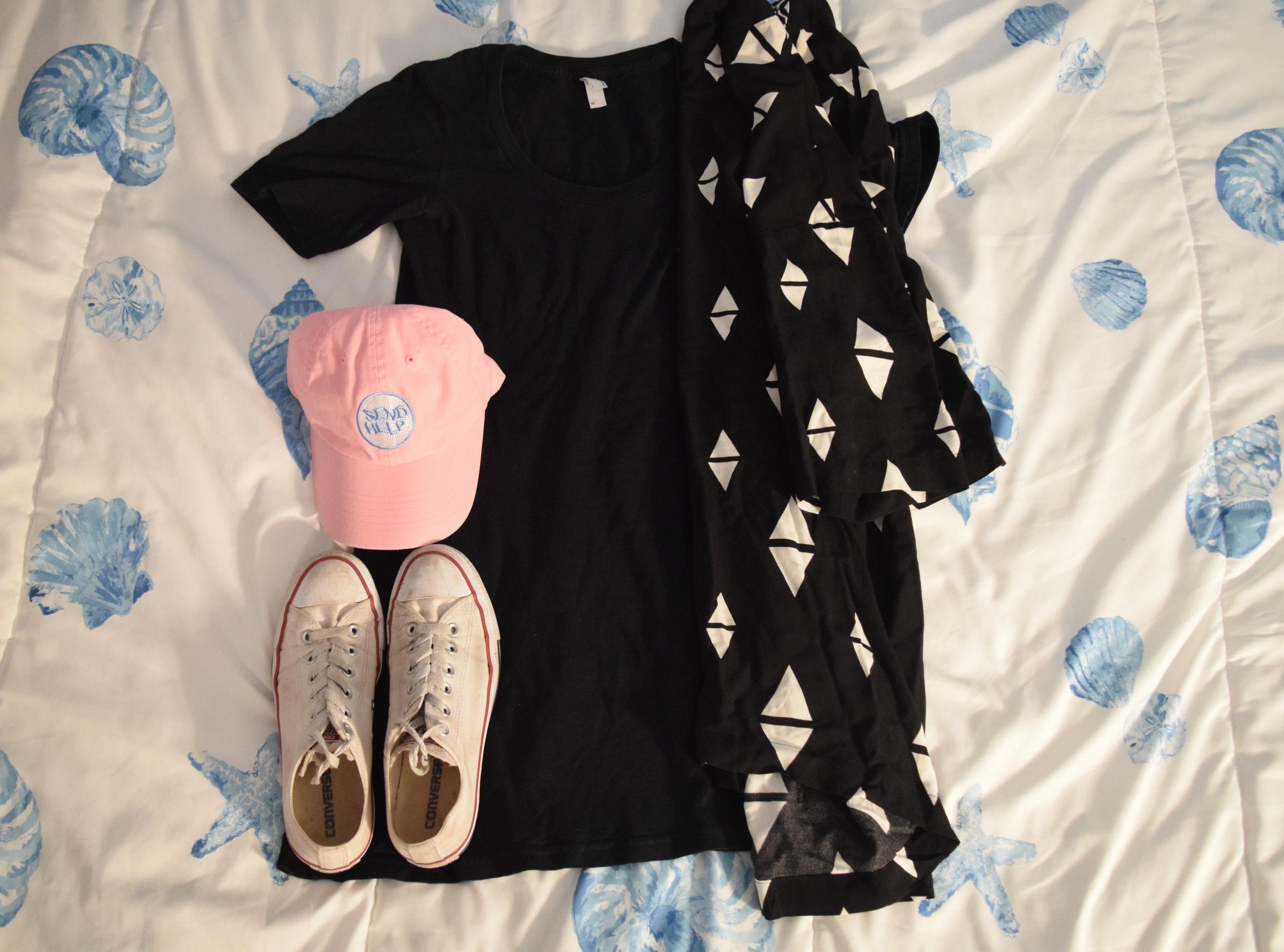 Dress .  Kimono .  Hat .  Sneakers .