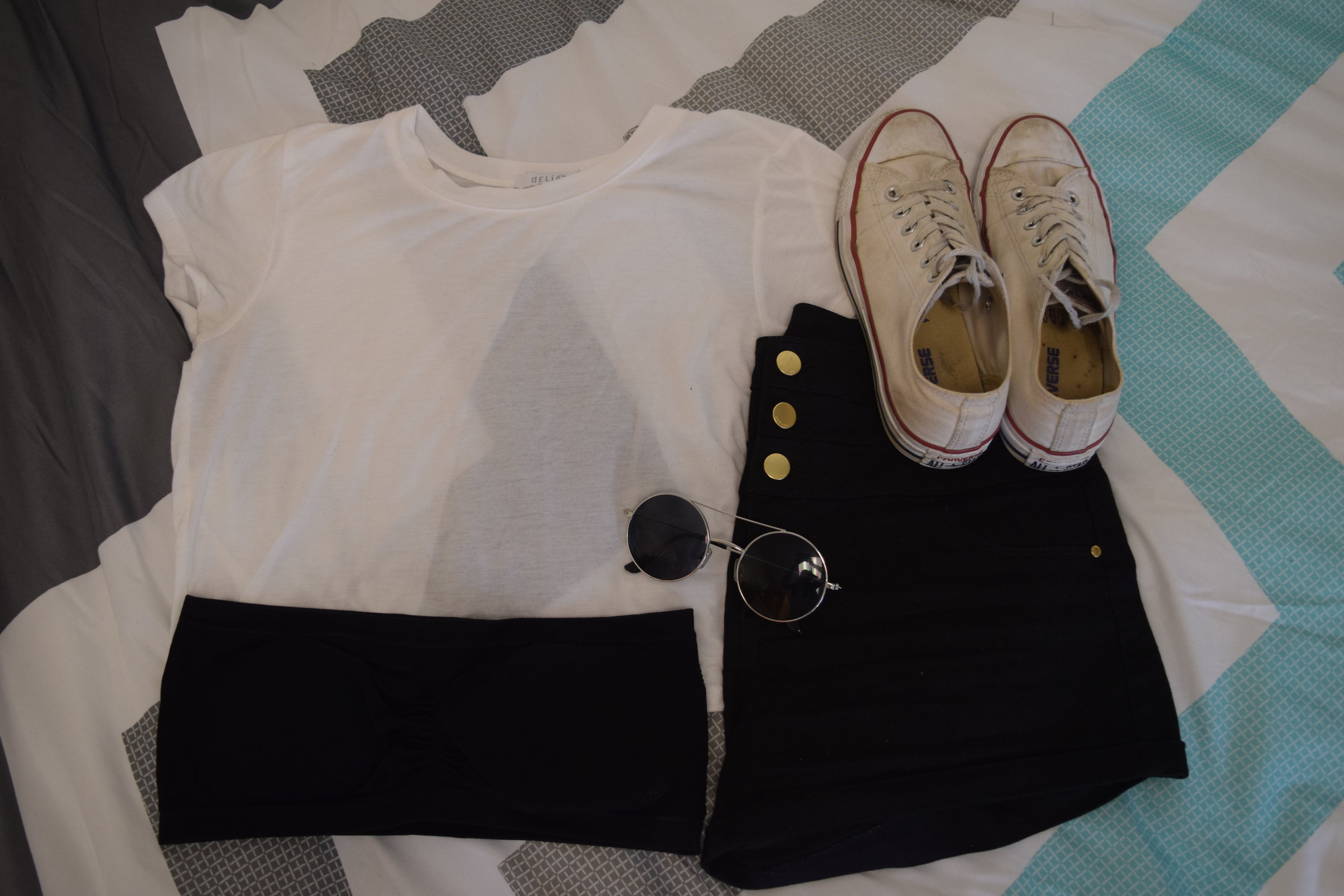 Shirt (no longer being sold at  dELiA*s ).  Shorts .  Converse .  Bandeau .  Sunglasses  (similar).