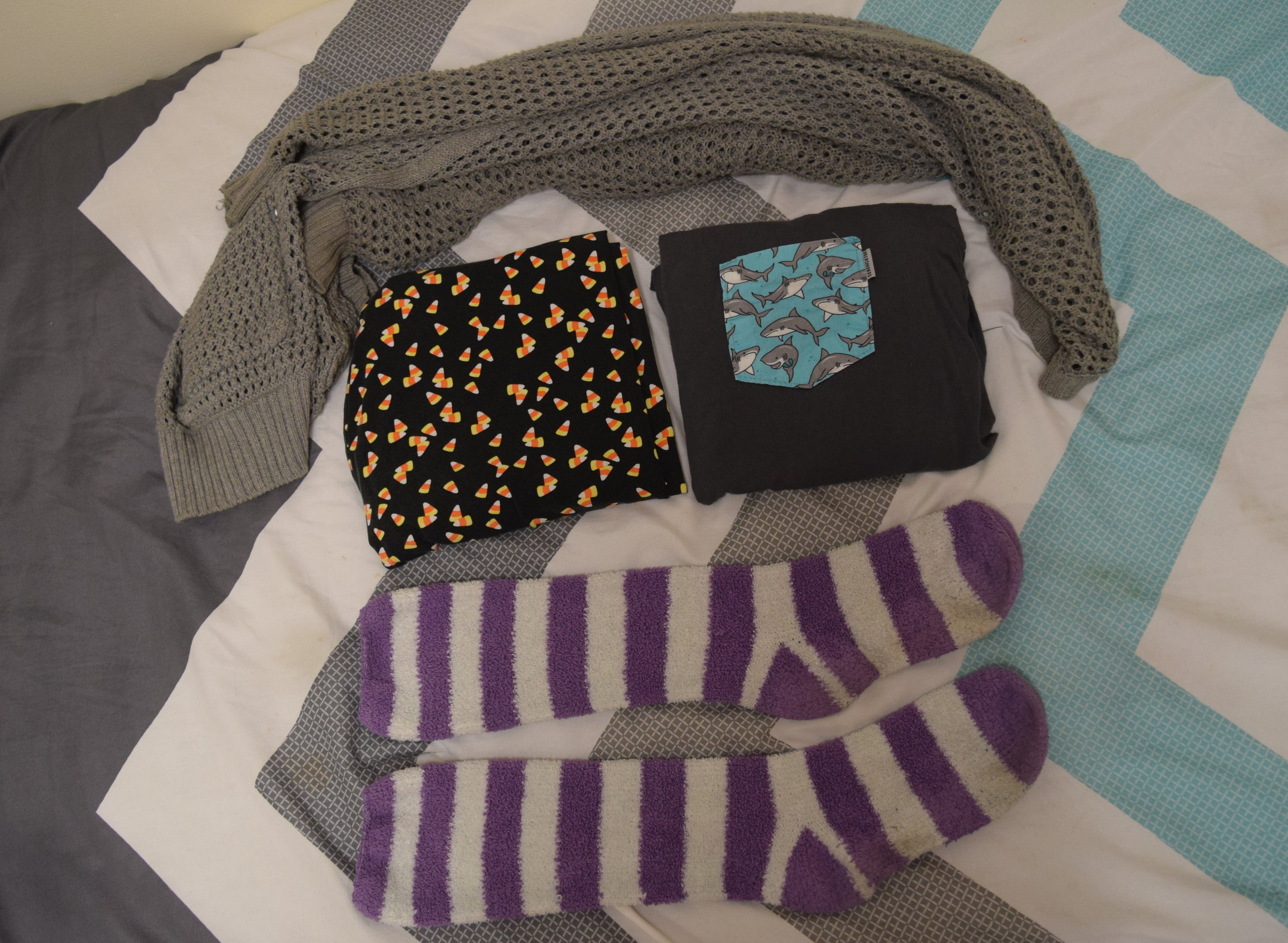 Shirt . Leggings (no clue). Sweater (no longer being sold at  The Gap ). Socks (no clue omg I'm sorry).
