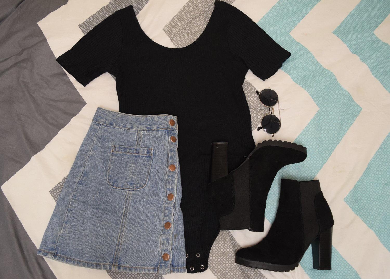 Bodysuit  .  Skirt  (different color).  Heels  (similar).  Sunglasses  (similar).