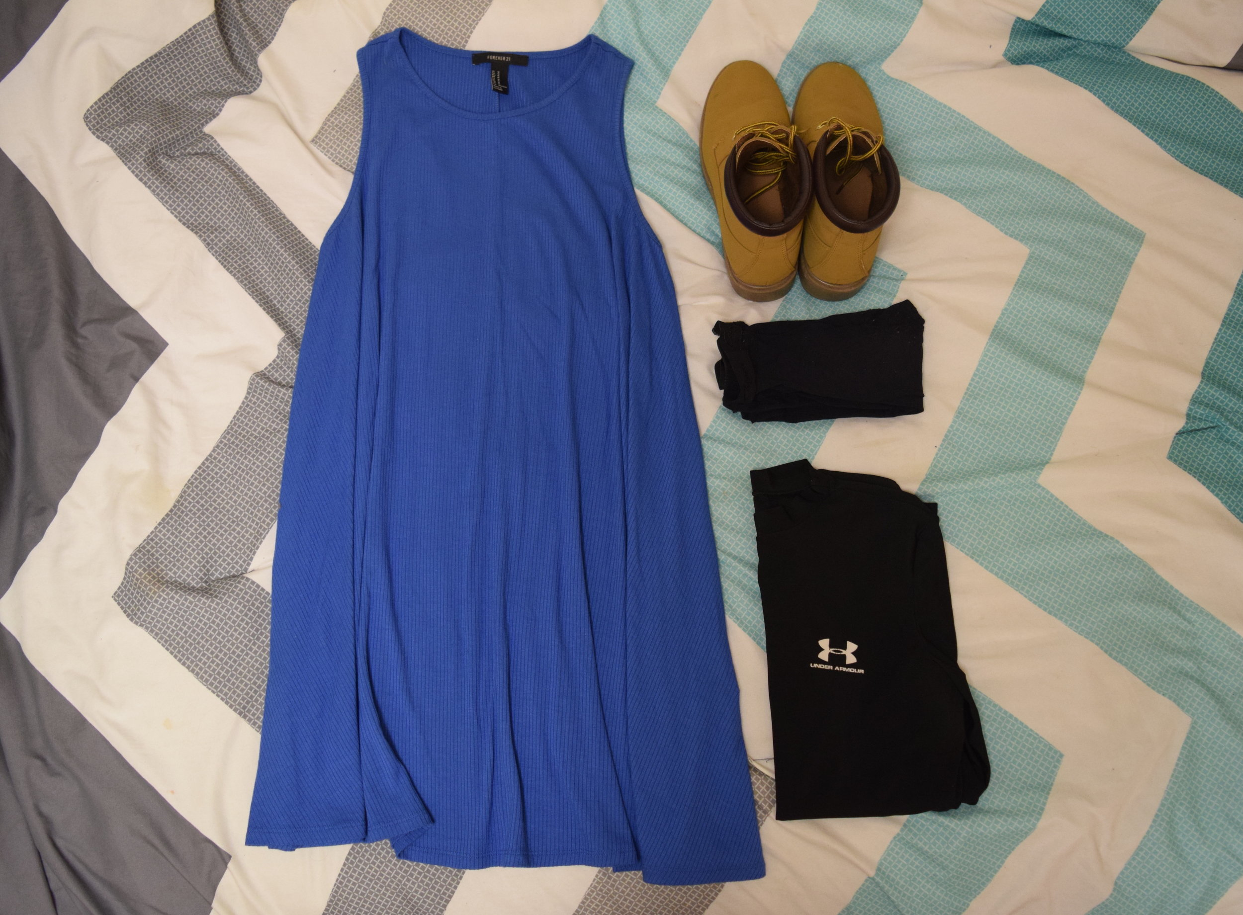 Dress  (similar).  Undershirt  (similar).  Stockings . Boots (no longer being sold at  Primark ).