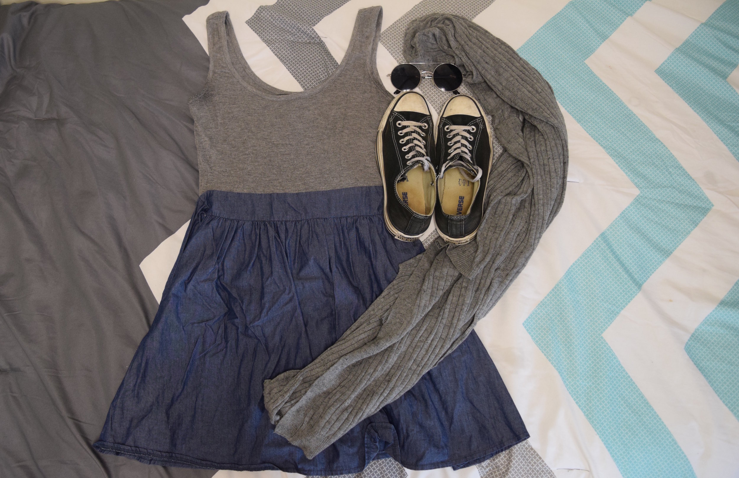 Dress (no clue I'm sorry). Sweater.  Sneakers .  Sunglasses  (similar).