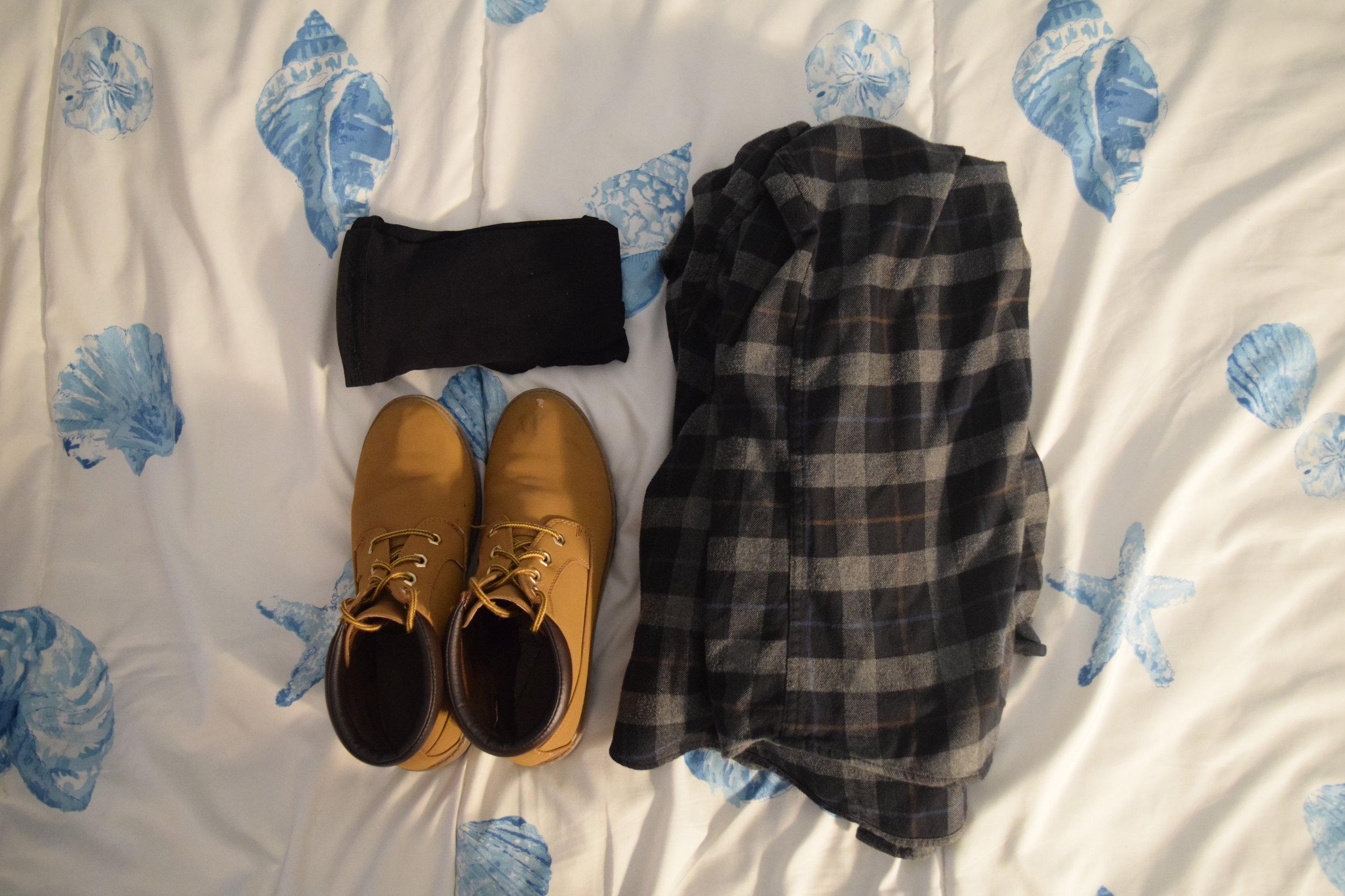 Flannel (no longer being sold at  Eddie Bauer ). Boots (no longer being sold at  Primark ).  Stockings .