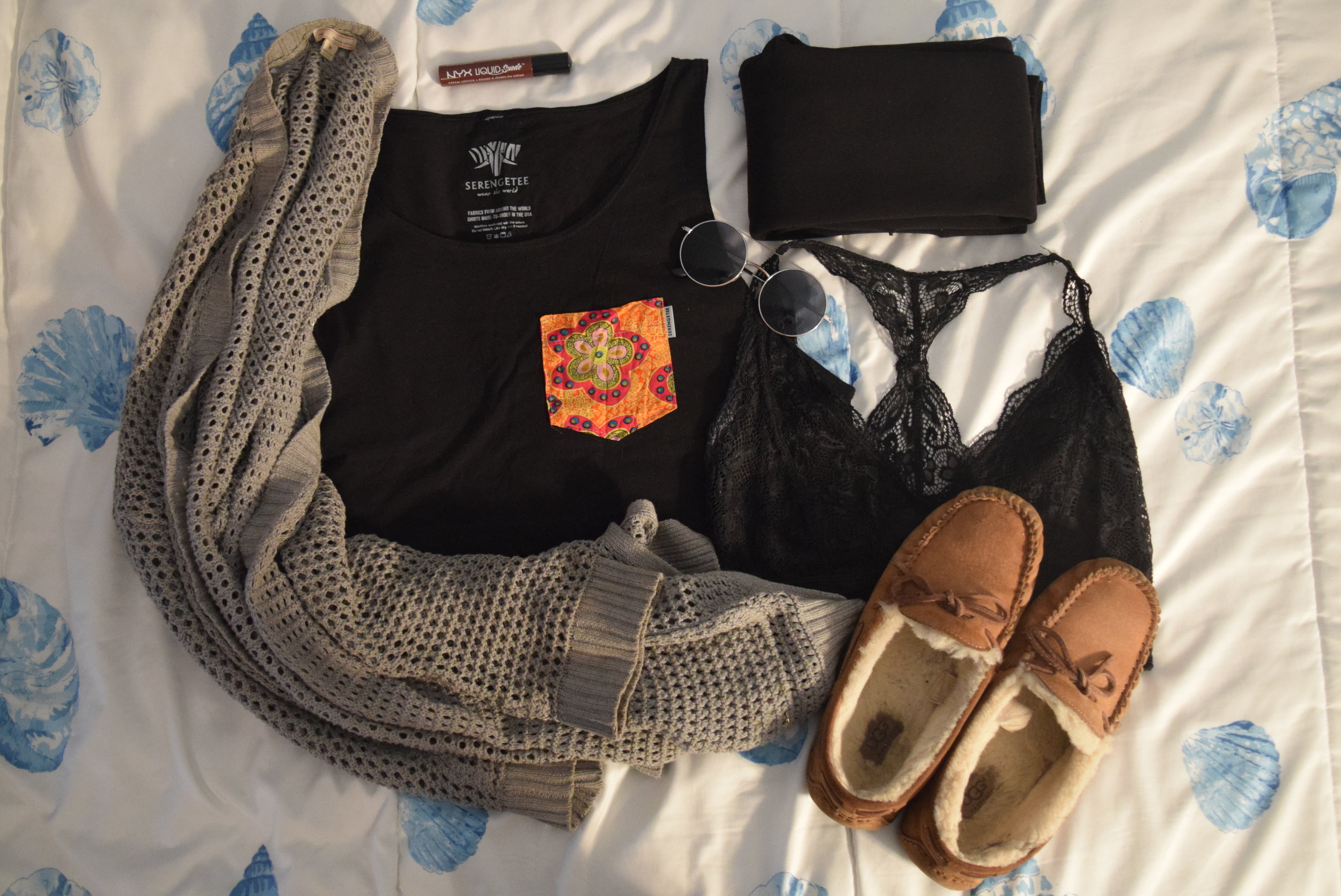 Top . Sweater (no longer being sold at  the Gap ).  Bralette .  Leggings .  Moccasins .  Sunglasses  (similar).  Lipgloss .
