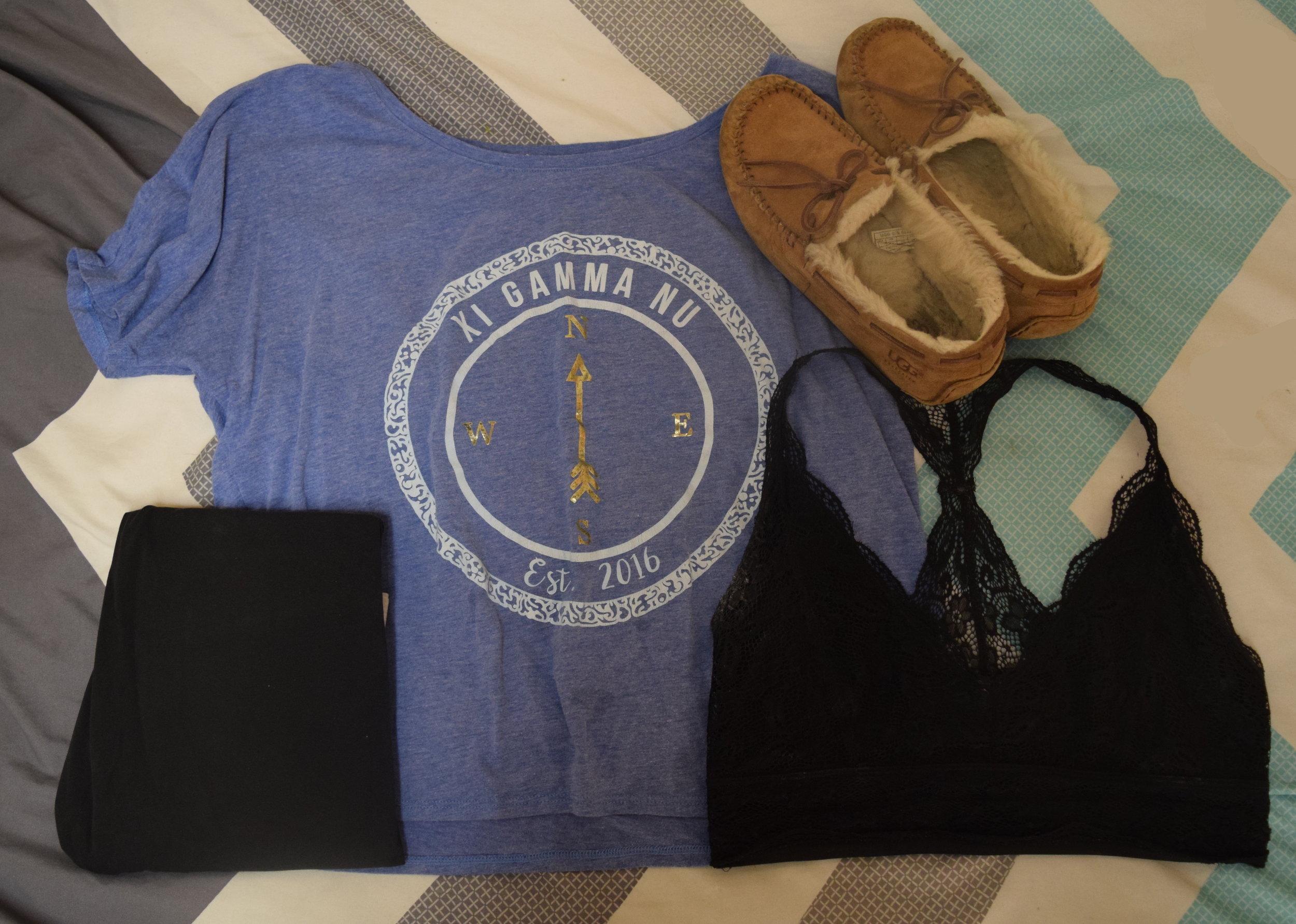 Shirt (Gamma exclusive, bbs).  Leggings  (similar).  Moccasins .  Bralette .