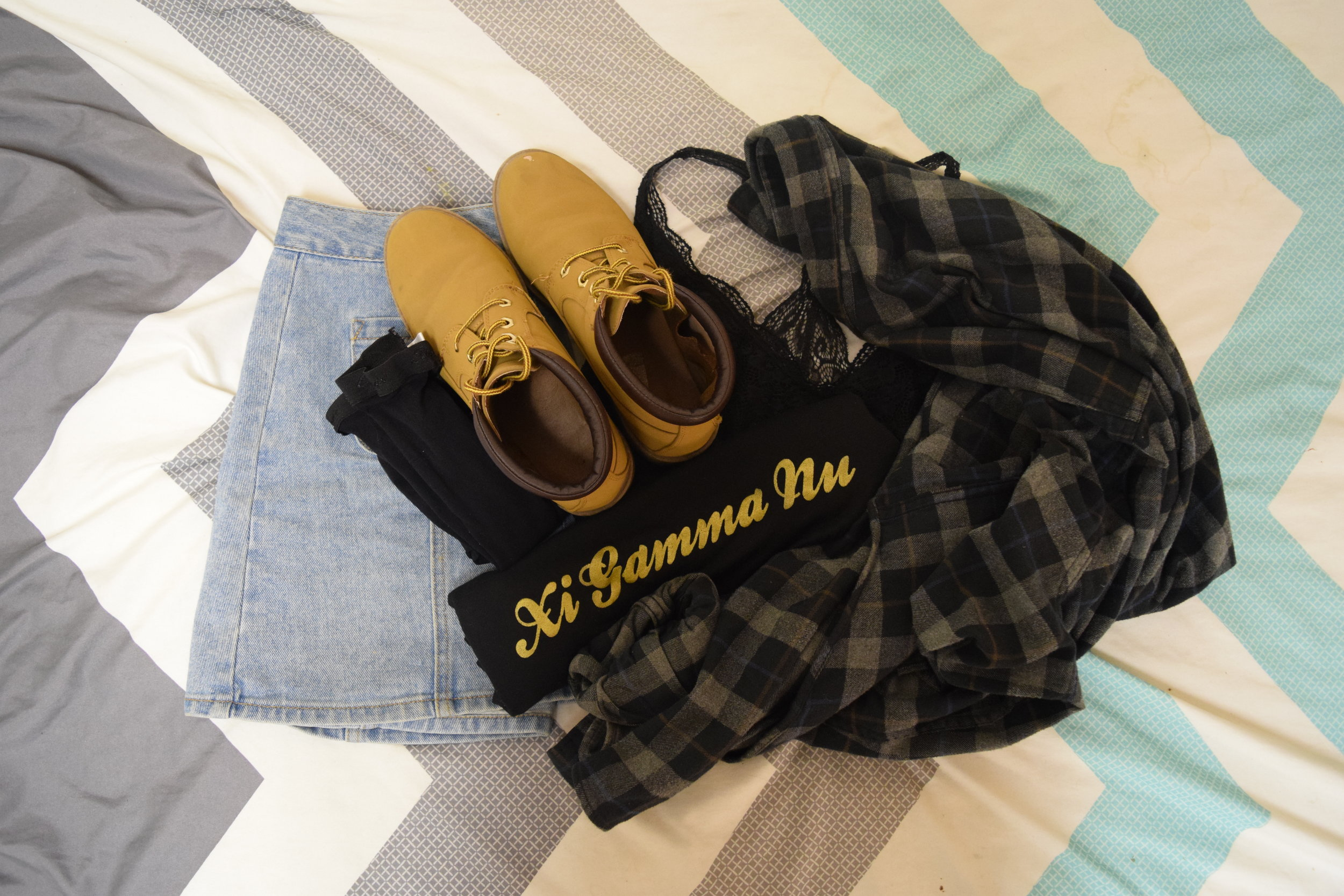 Shirt (Gamma exclusive bbs). Flannel (no longer being sold at  Eddie Bauer ). Bralette. Skirt (different color). Boots (no longer being sold at  Primark ).