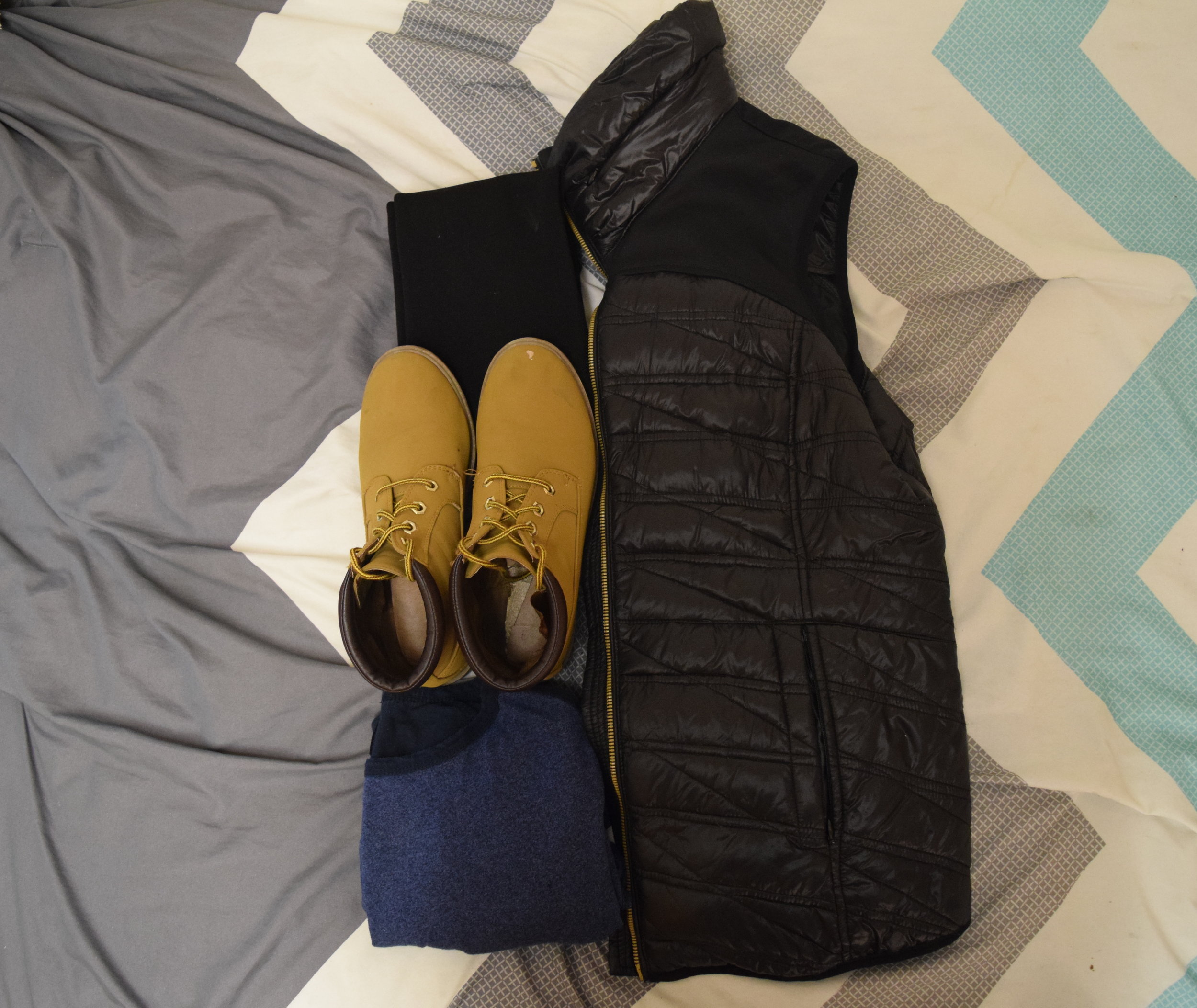 Vest . Shirt (no clue I'm sorry).  Leggings . Boots (no longer being sold at  Primark ).