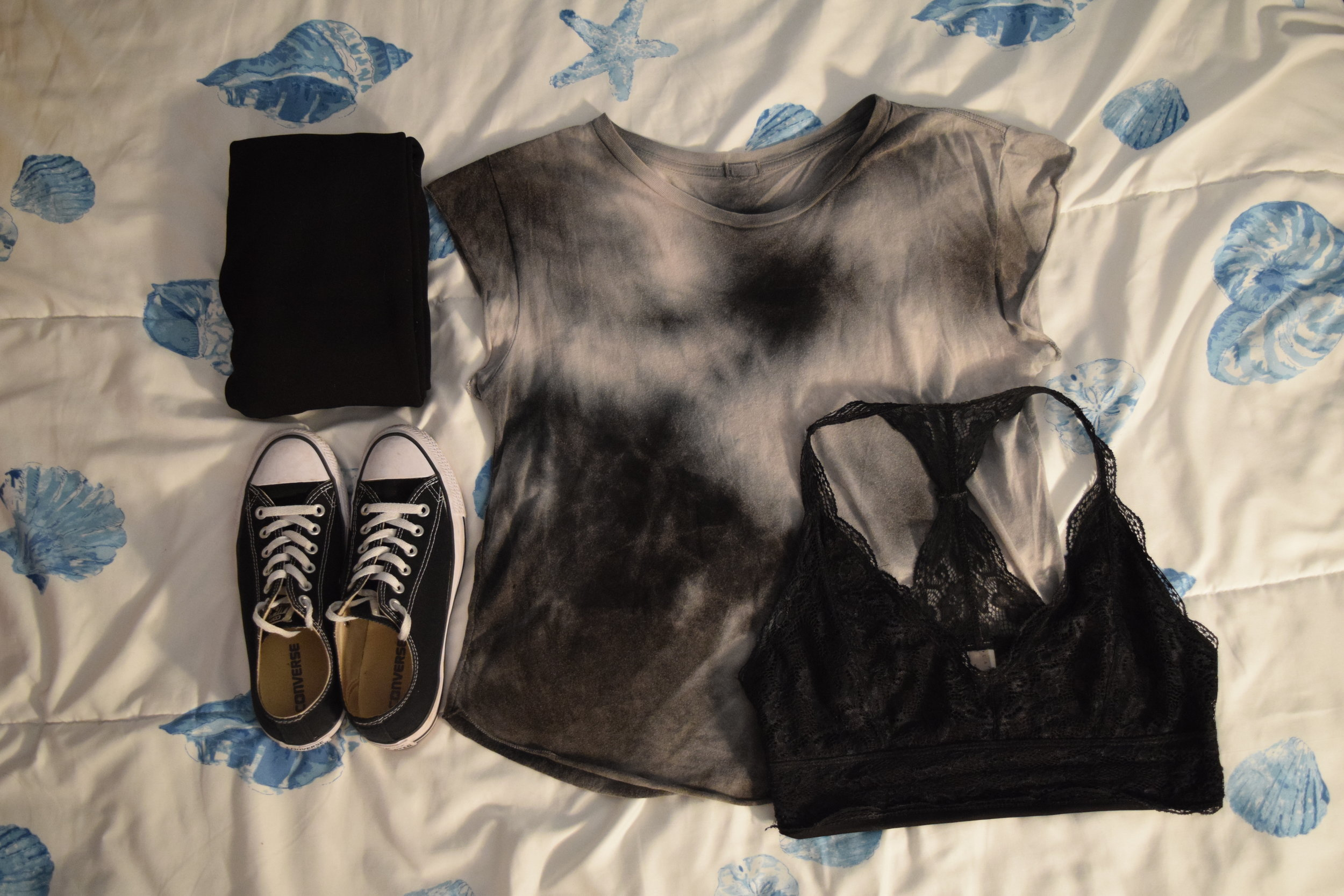 Shirt (no longer being sold at  Pacsun ).  Leggings .  Bralette .  Sneakers .