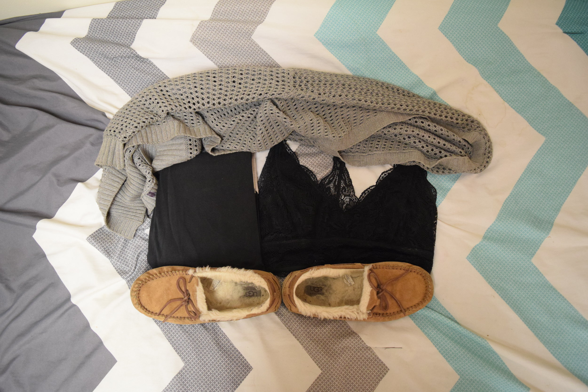Bralette .  Leggings  (similar).  Moccasins . Sweater (no longer being sold at  The Gap ).