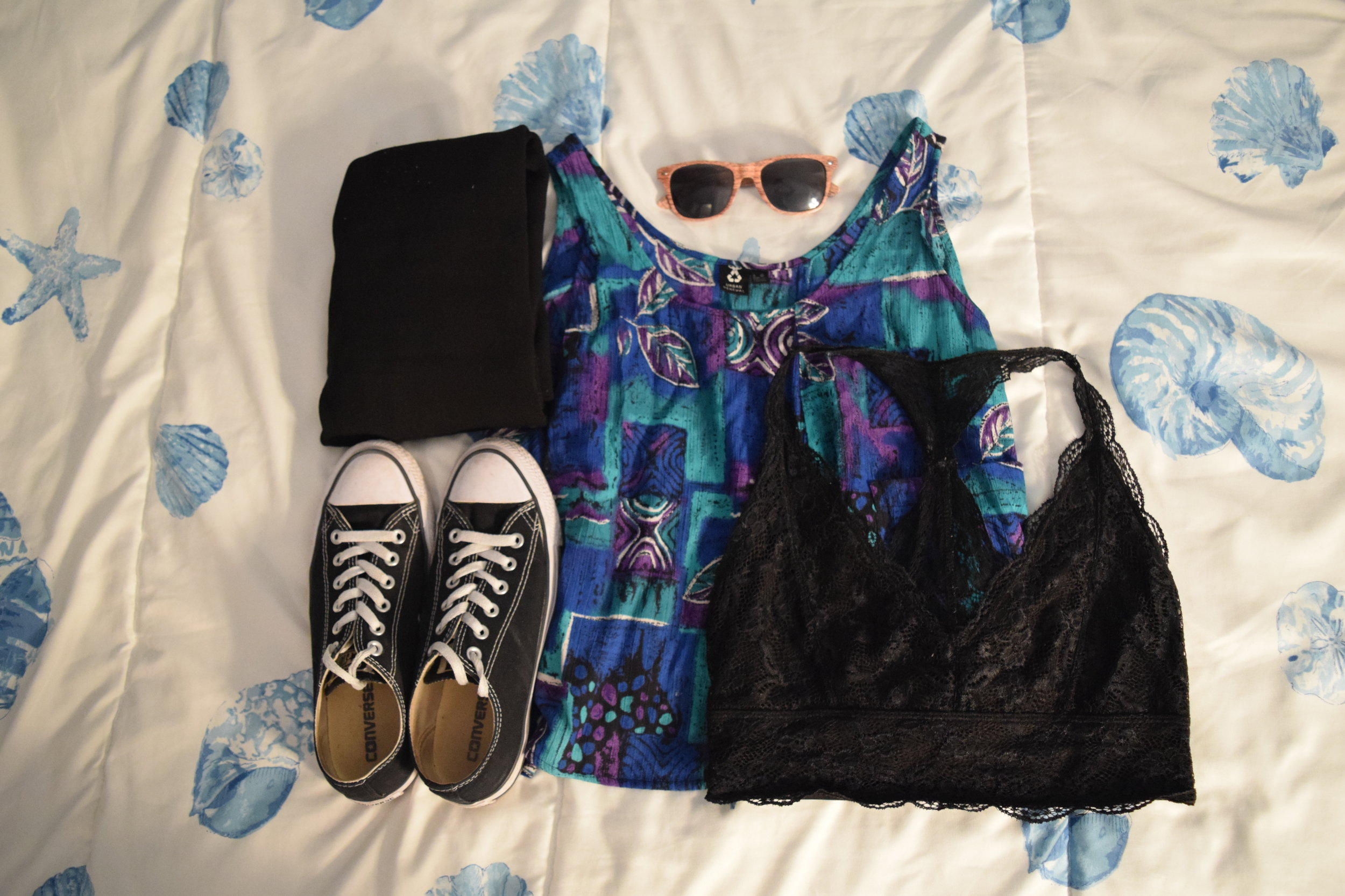 Shirt (no longer being sold at  Urban Outfitters ).  Bralette .  Leggings .  Sneakers .  Sunglasses  (mine are lighter).