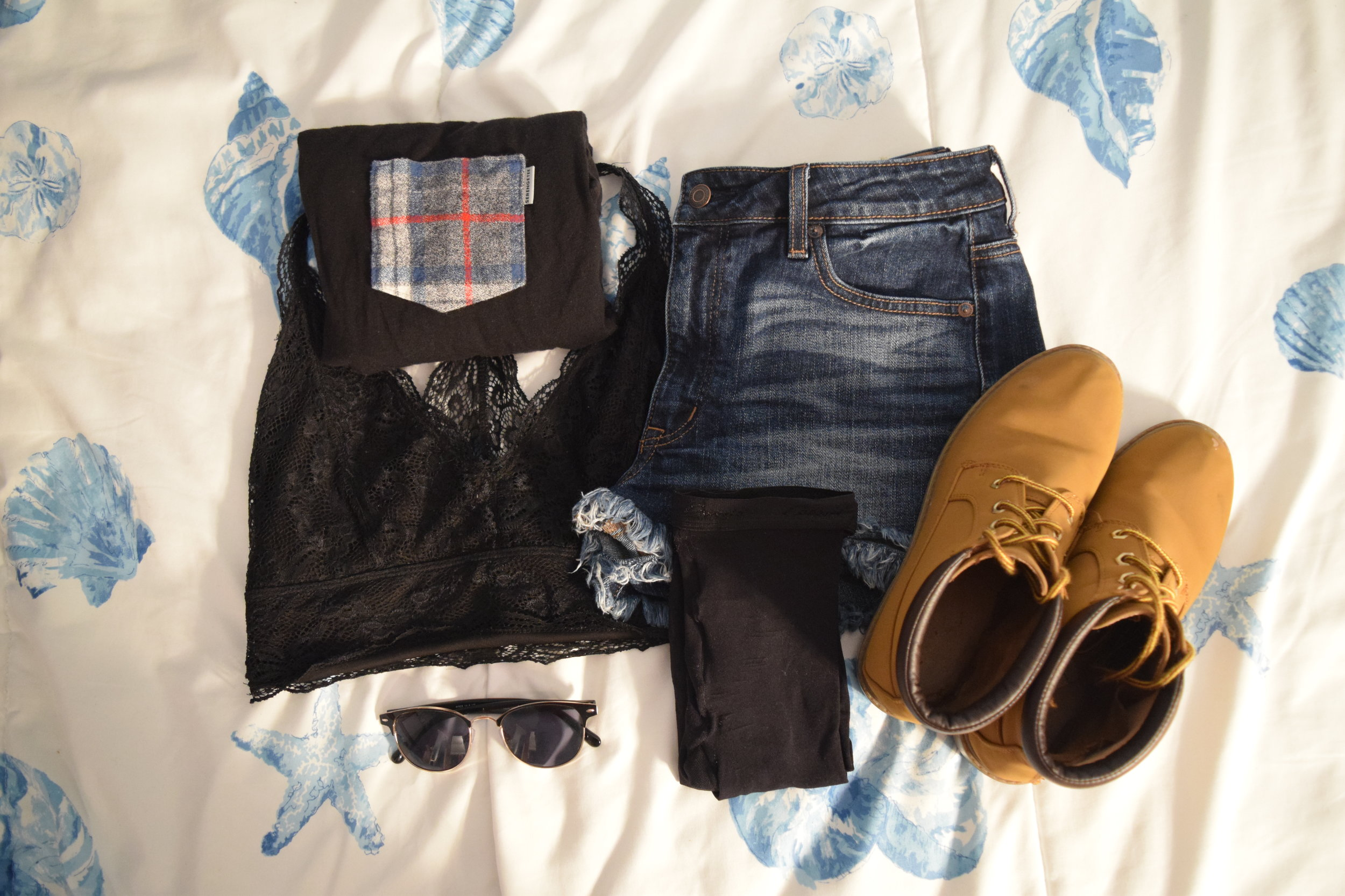 Shirt .  Bralette .  Shorts .  Tights . Boots (no longer being sold at  Primark ).  Sunglasses .