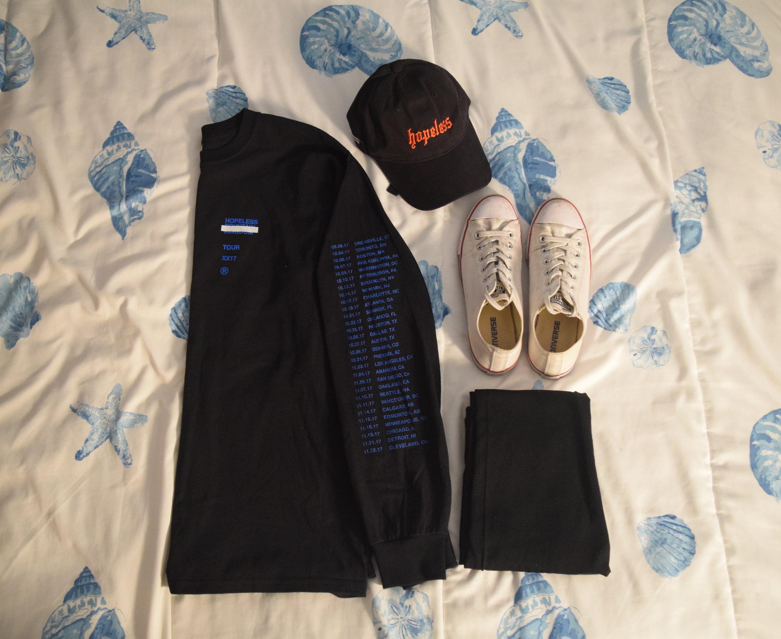 Shirt .  Leggings .  Hat .  Sneakers .