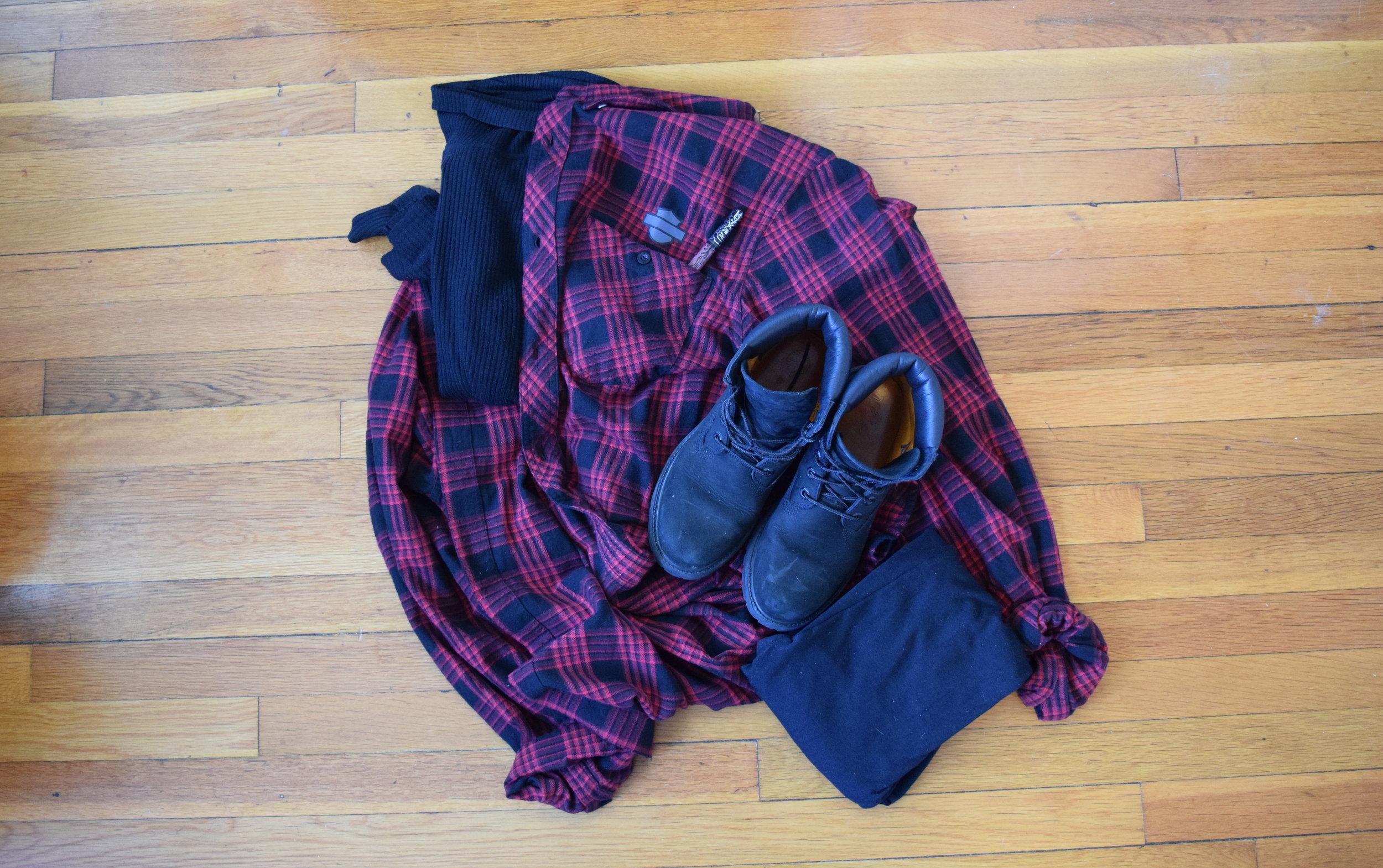turtleneck  (similar).  flannel .  leggings .  boots .  lipgloss  (in sanctuary).