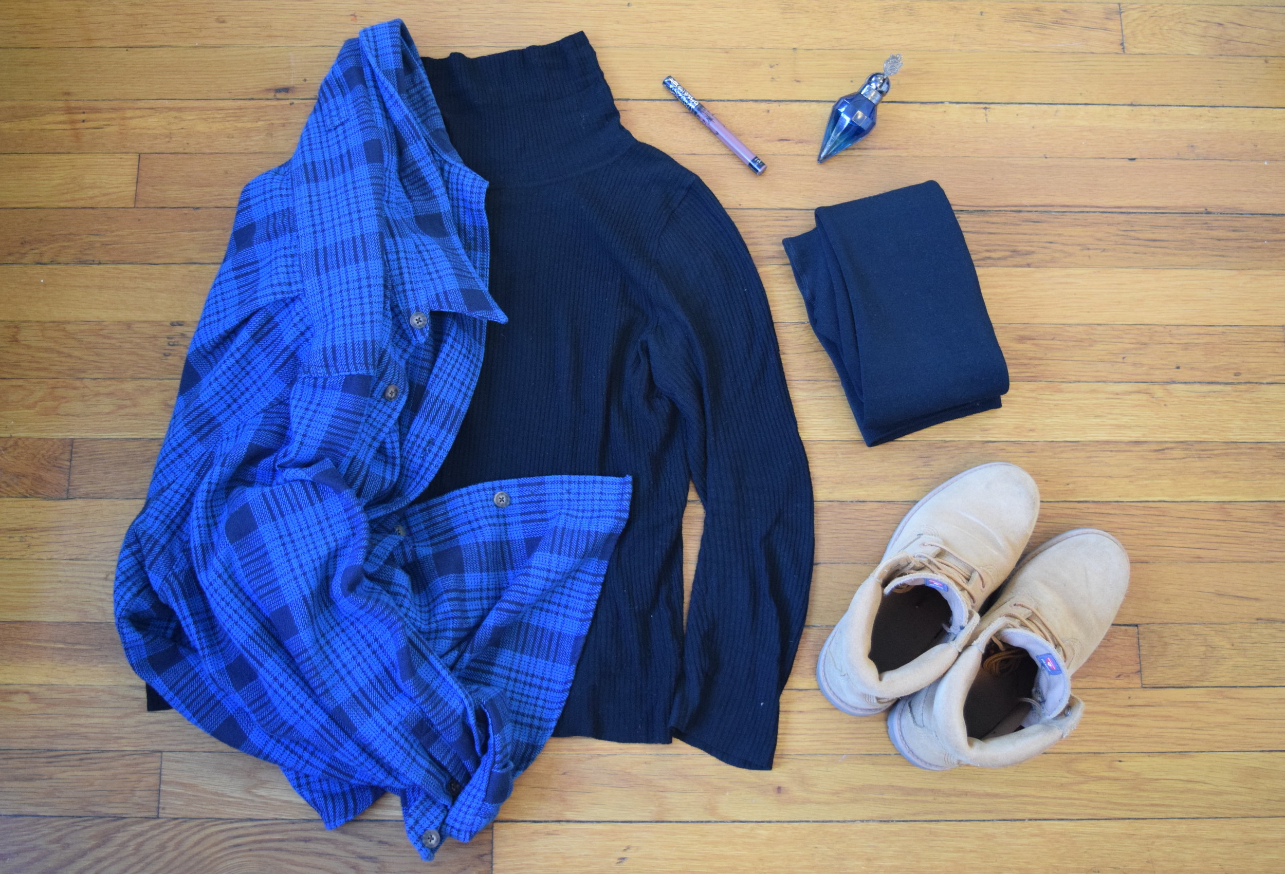 turtleneck  (similar).  flannel .  leggings .  boots .  lipgloss (in Sanctuary).  perfume .