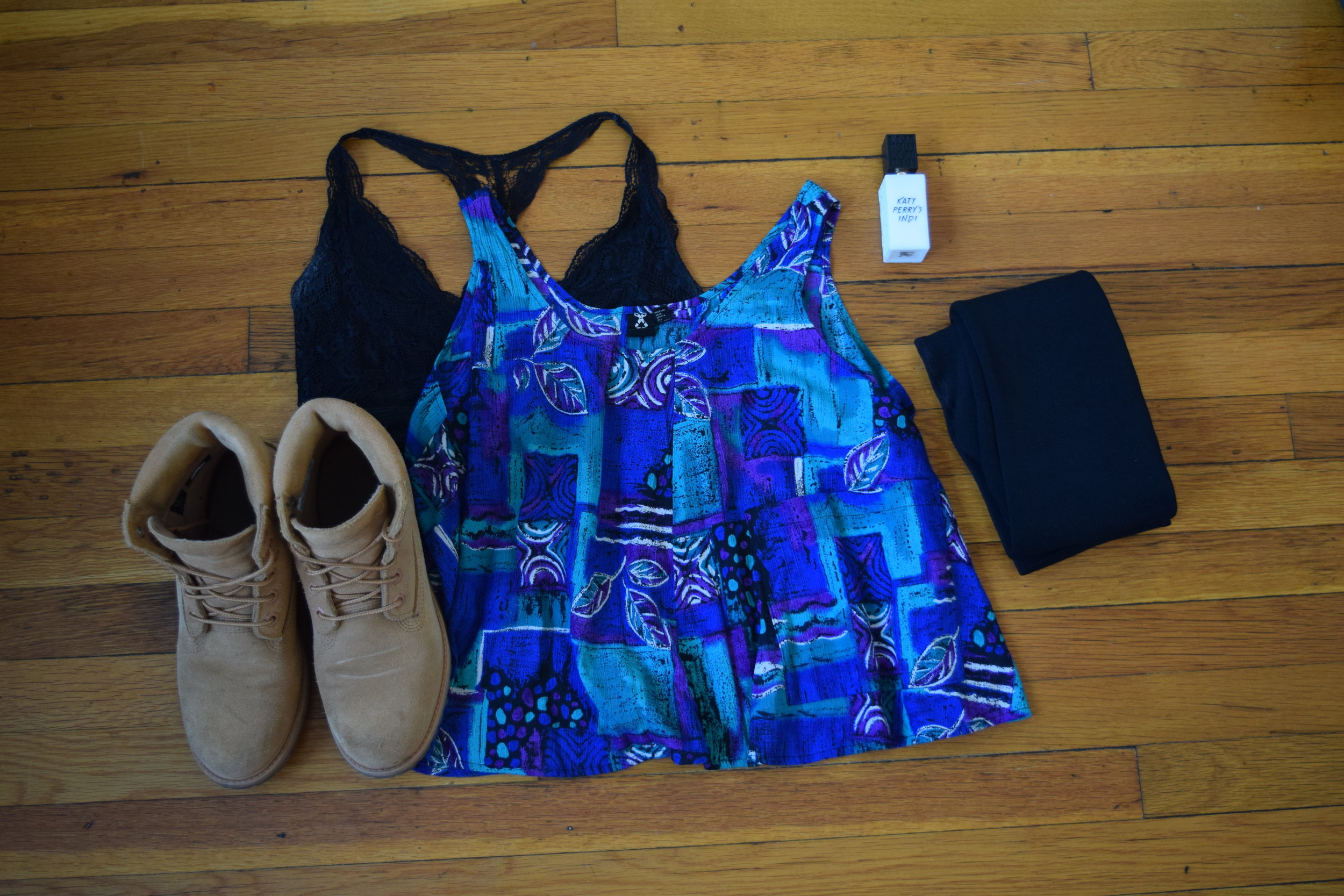 top (no longer being sold at  Urban Outfitters ).  bralette .  leggings .  boots .  perfume .