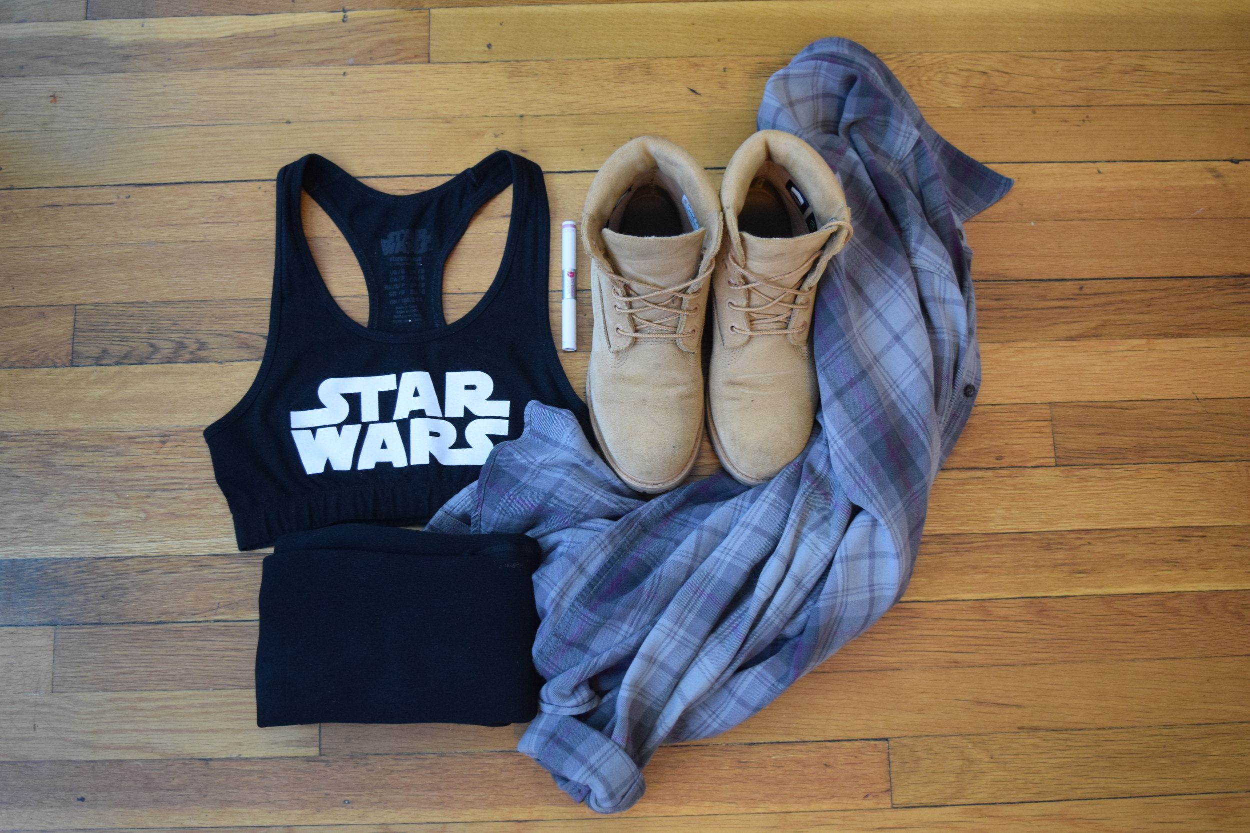 crop top  (similar).  leggings . flannel (i don't know i'm sorry!). timberlands . lipgloss (by Dr. Dana Beauty).