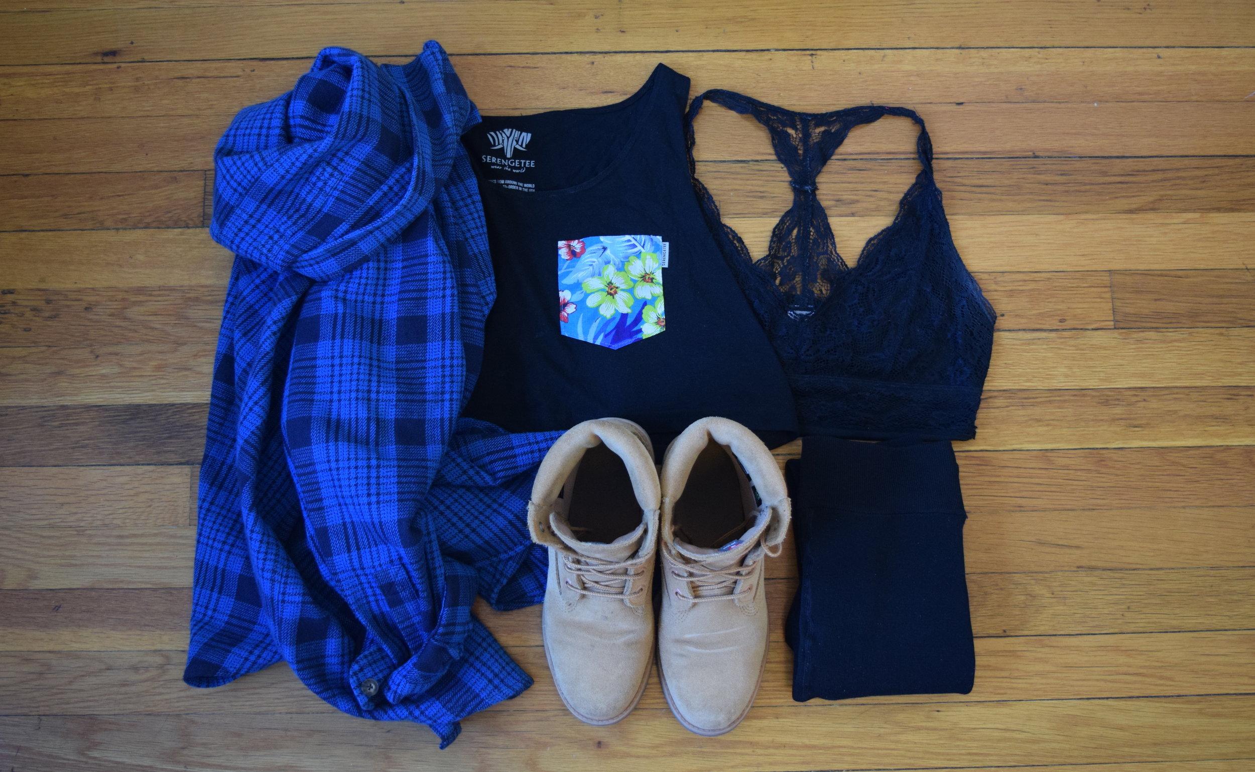 top .  bralette . flannel (my dad's!).  leggings .  timberlands .