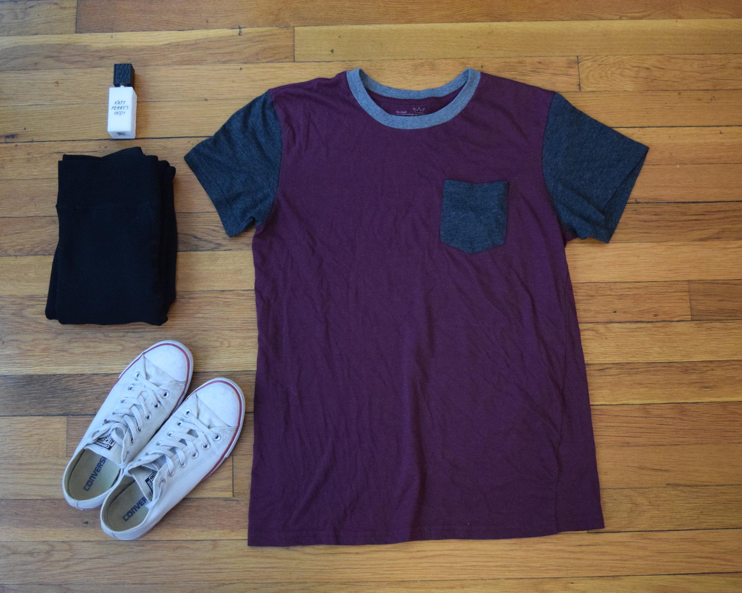shirt .  leggings .  sneakers .  perfume .