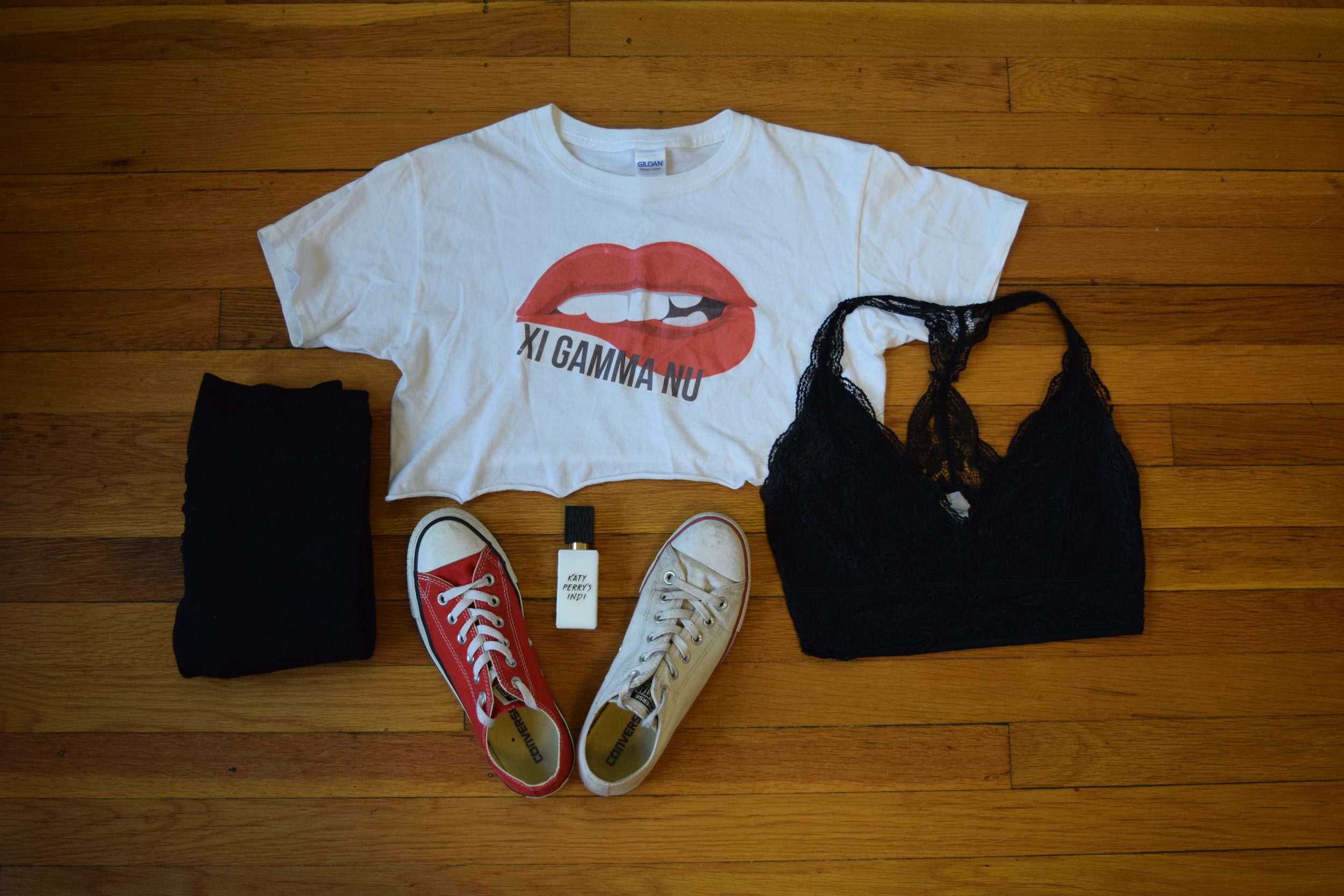 shirt  (my design but this is the actual shirt). bralette.  leggings .  red converse .  white converse .  perfume .
