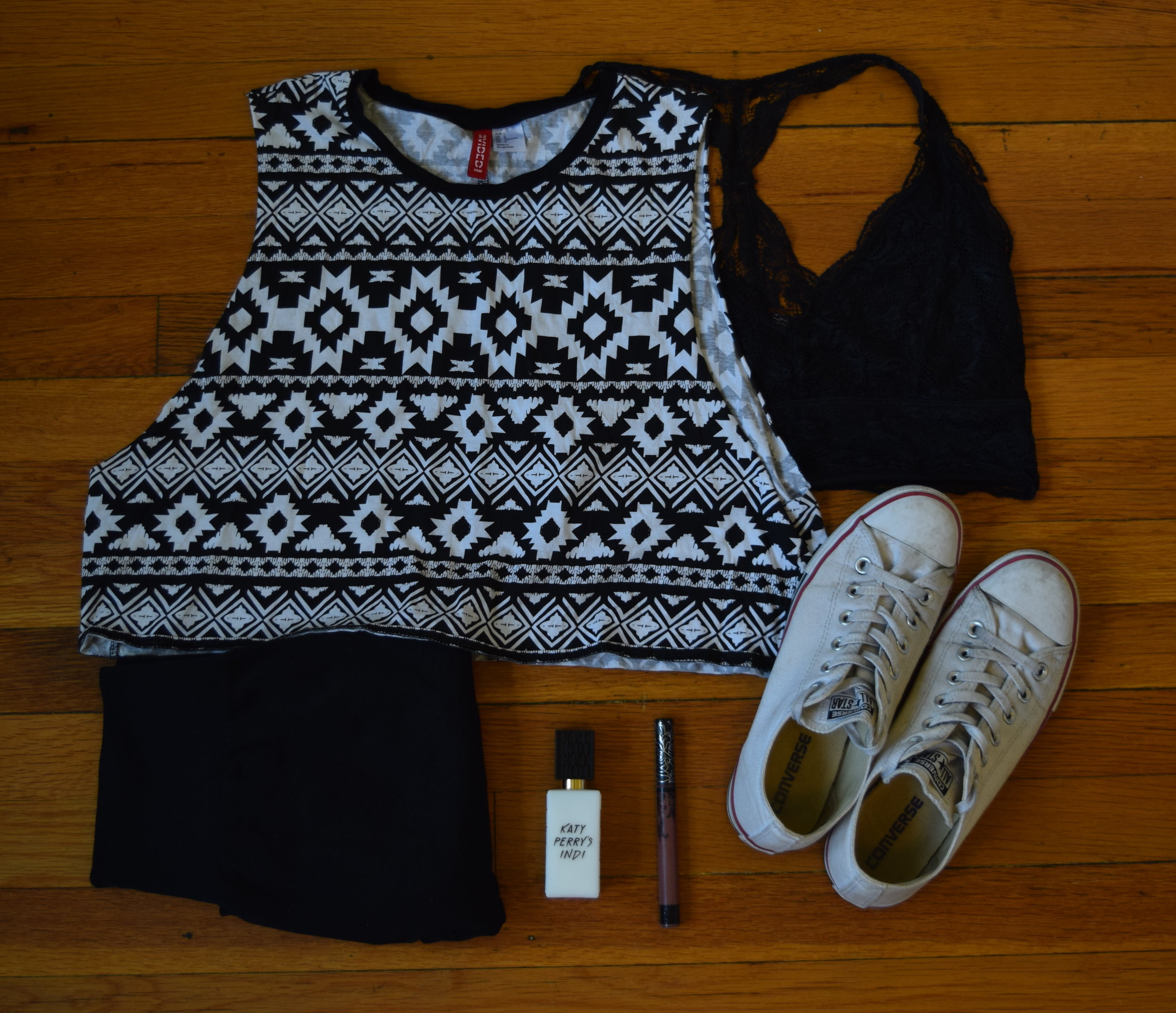 top (no longer being sold at  H&M ).  leggings .  bralette .  sneakers .  perfume .  lipstick  (in Sanctuary).