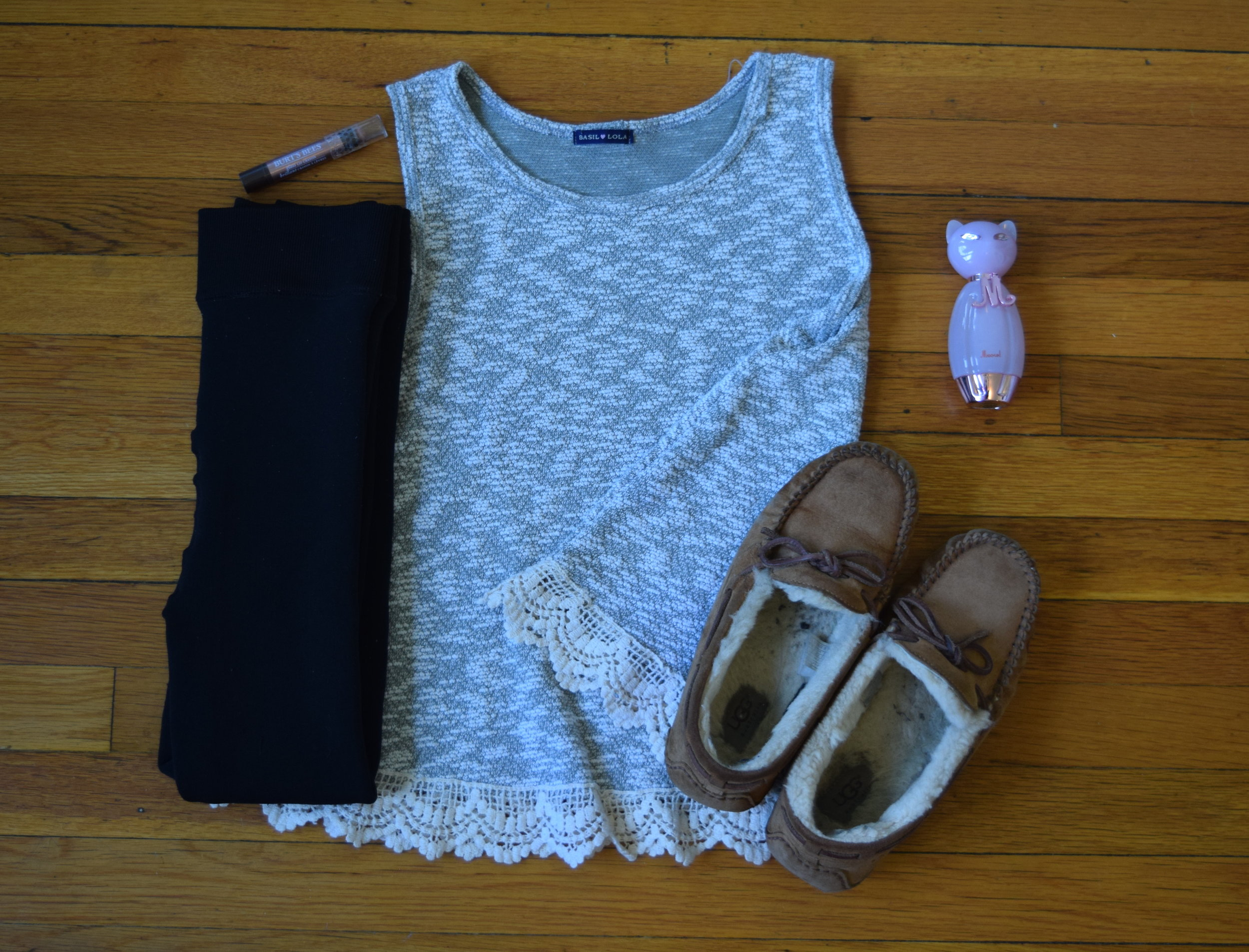 tank top (by  Basil Lola ).  leggings .  moccasins .  perfume .  lip crayon  (in Outback Oasis).