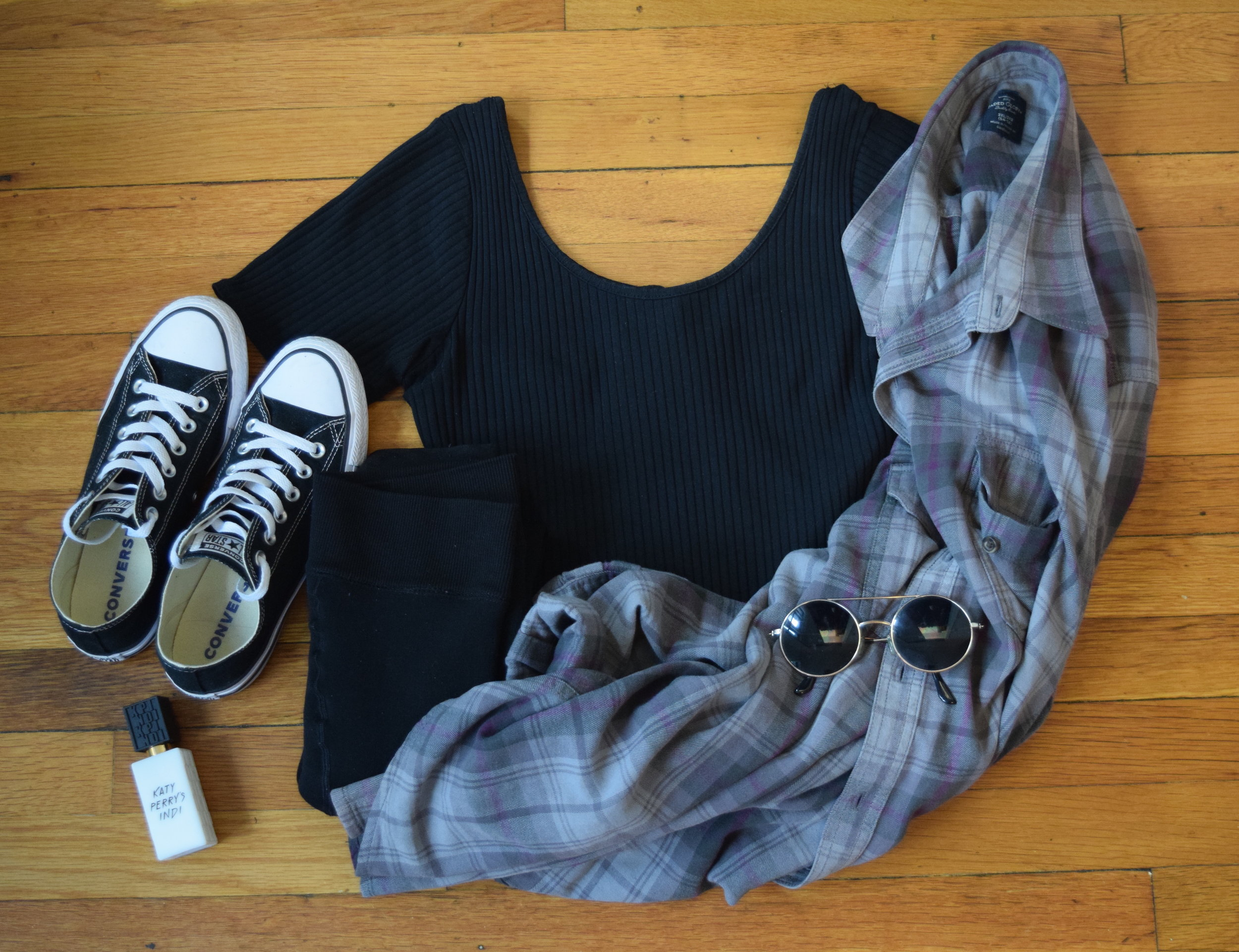 flannel (i don't know i'm sorry!).  bodysuit .  leggings .  sneakers .  sunglasses  (similar).  perfume .