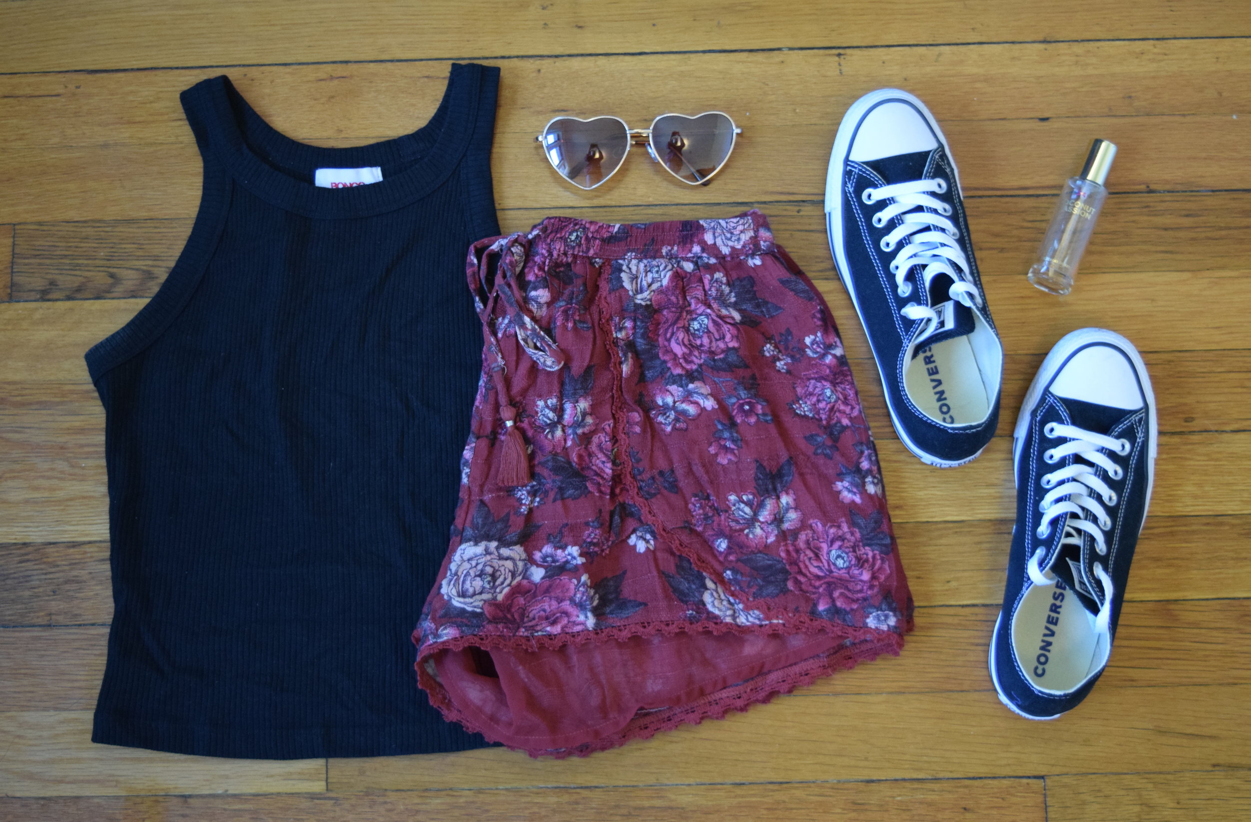 tank .  shorts .  sneakers .  perfume .  sunglasses .