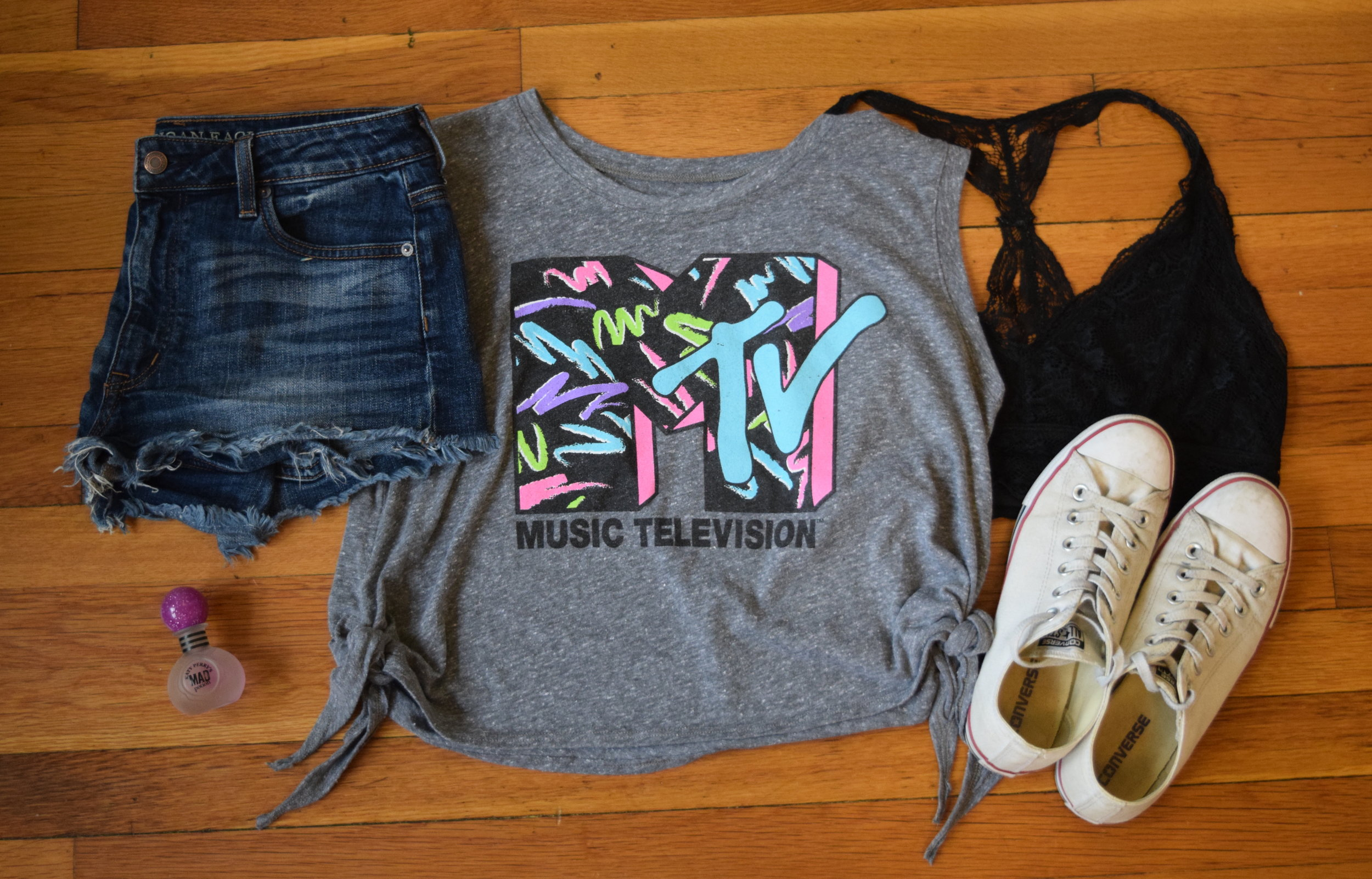 shirt (i have no clue tbh i'm so sorry).  shorts .  bralette .  sneakers .  perfume .