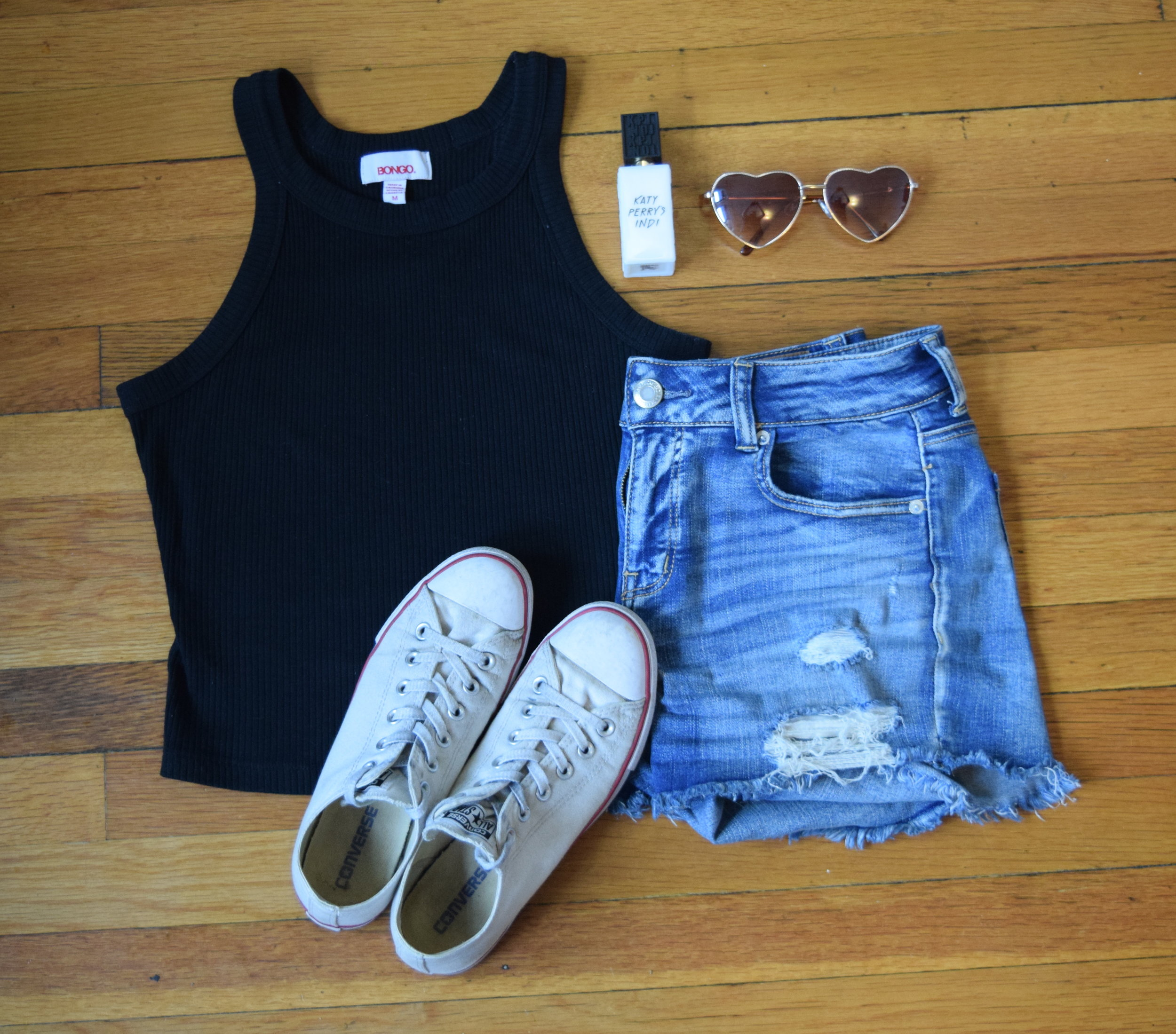 tank .  shorts .  sneakers . sunglasses.  perfume .