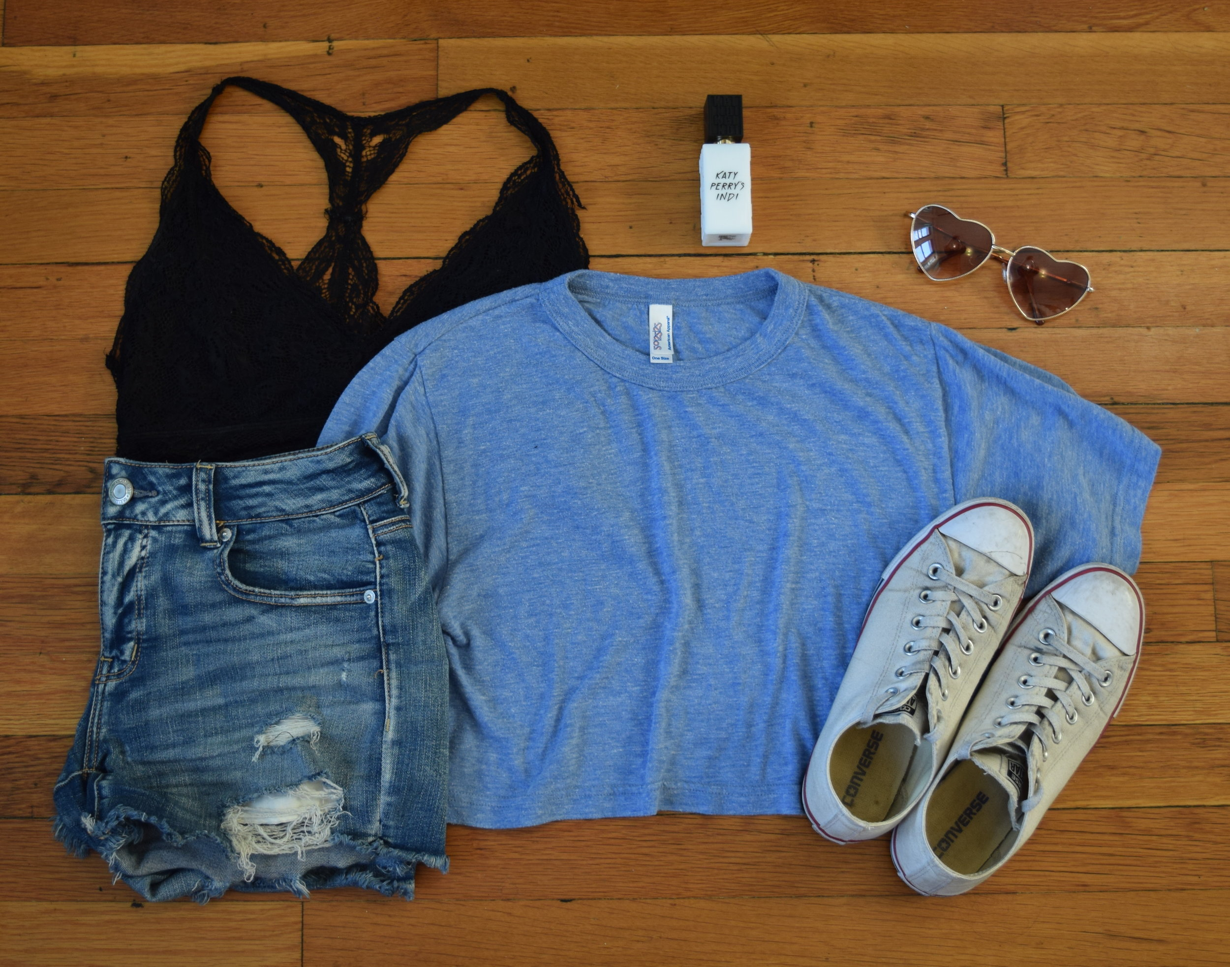 top (no longer being sold by  American Apparel ).  shorts .  bralette .  sneakers .  perfume .  sunglasses .