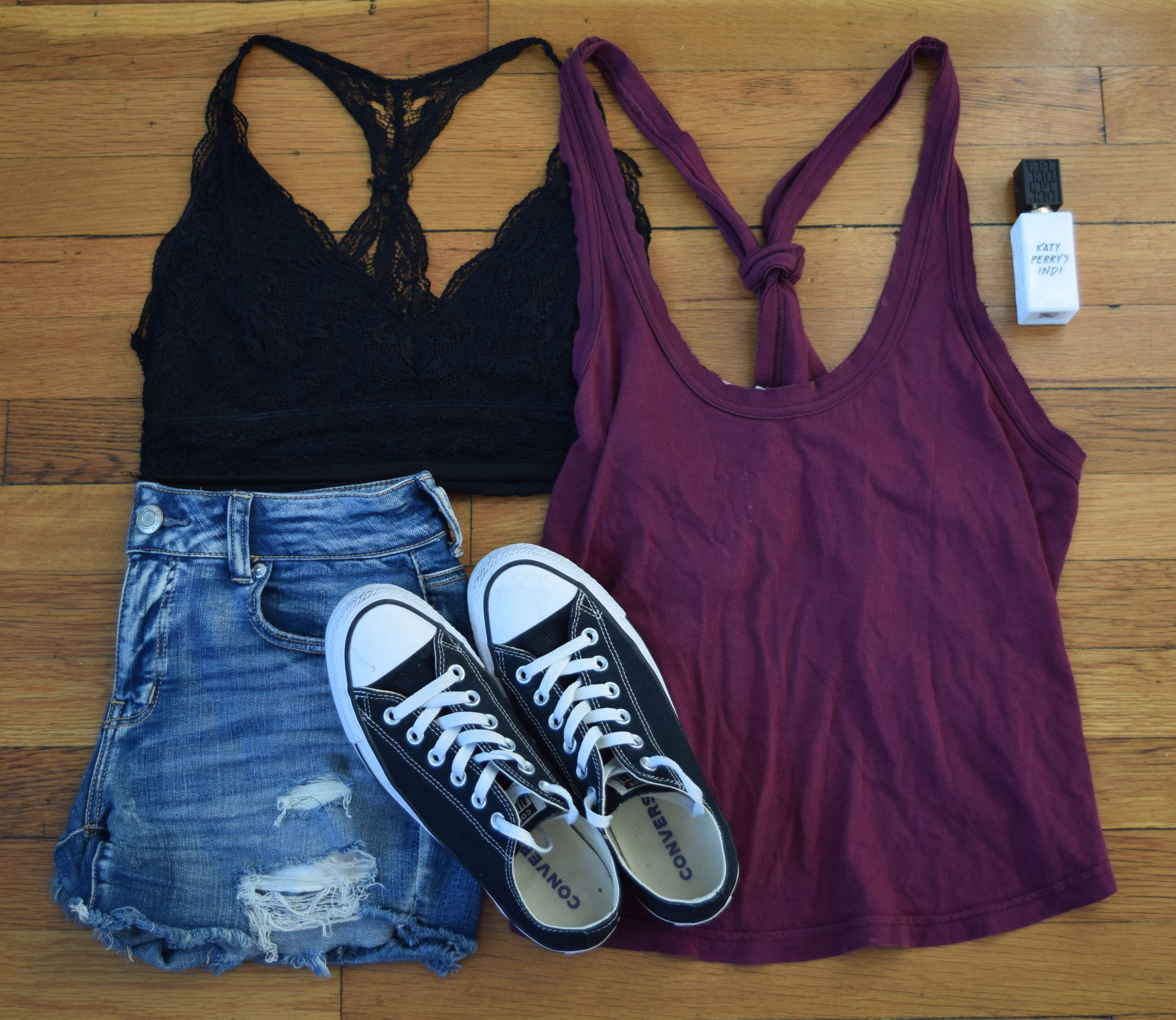 tank (no longer being sold by  Urban Outfitters ).  bralette .  shorts .  sneakers .  perfume .