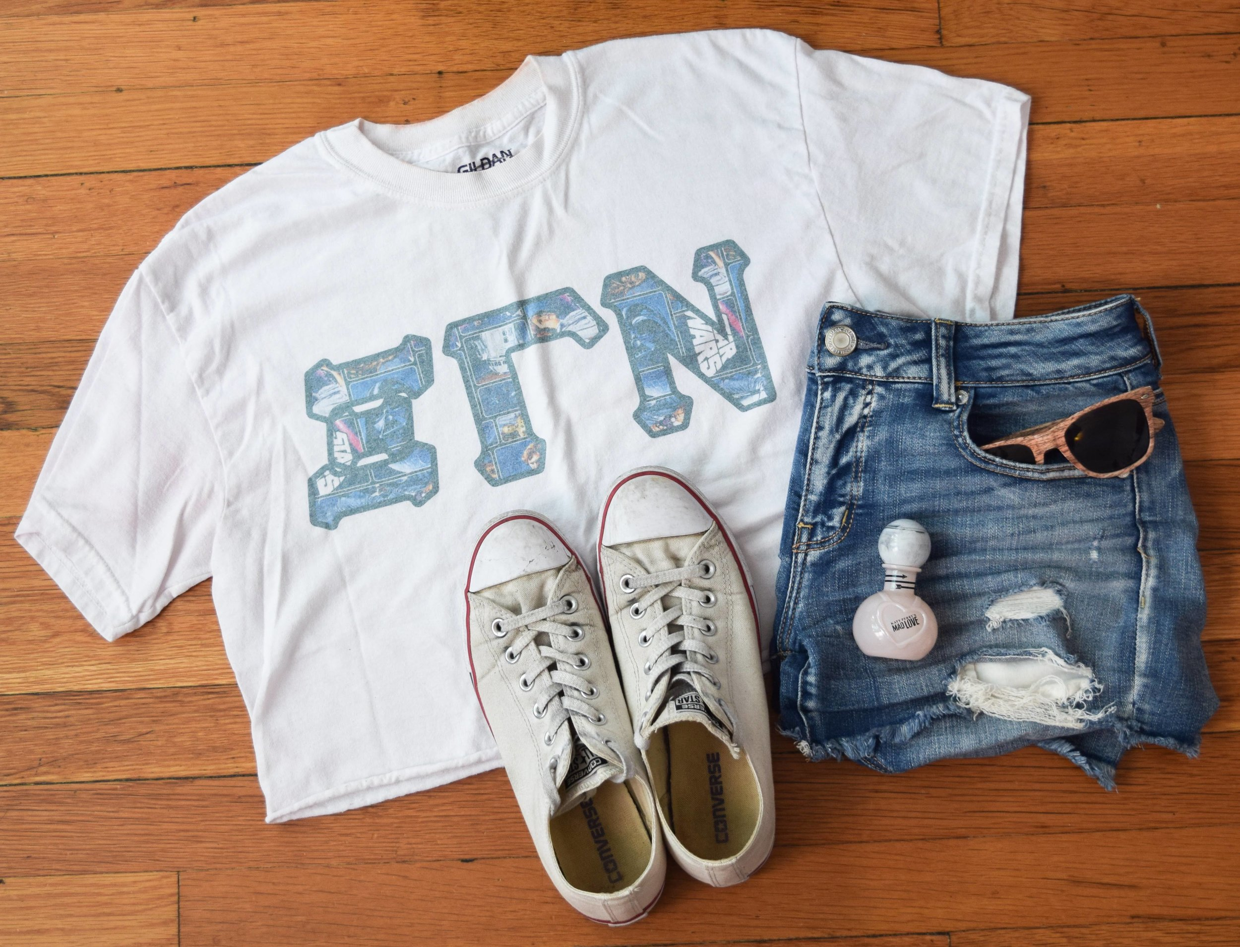shirt .  shorts .  sneakers .  sunglasses  (similar, mine are lighter!).  perfume .
