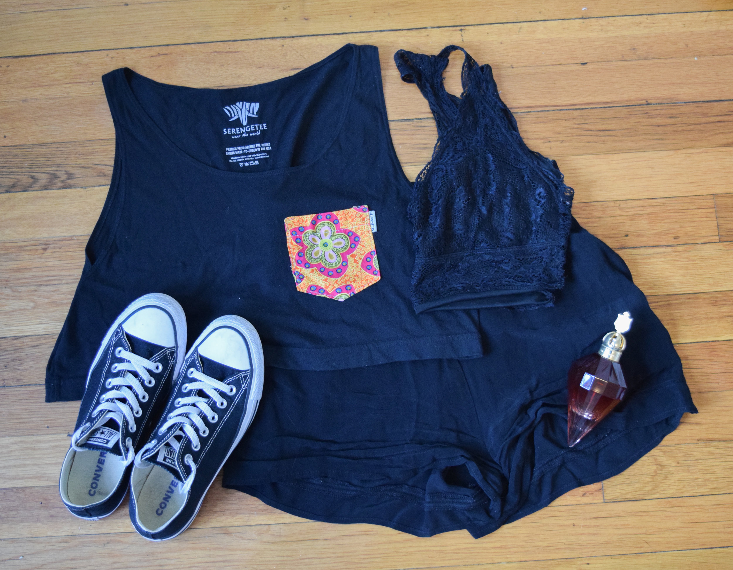 top  (similar).  bralette . shorts (no longer being sold by  Urban Outfitters ).  sneakers .  perfume .