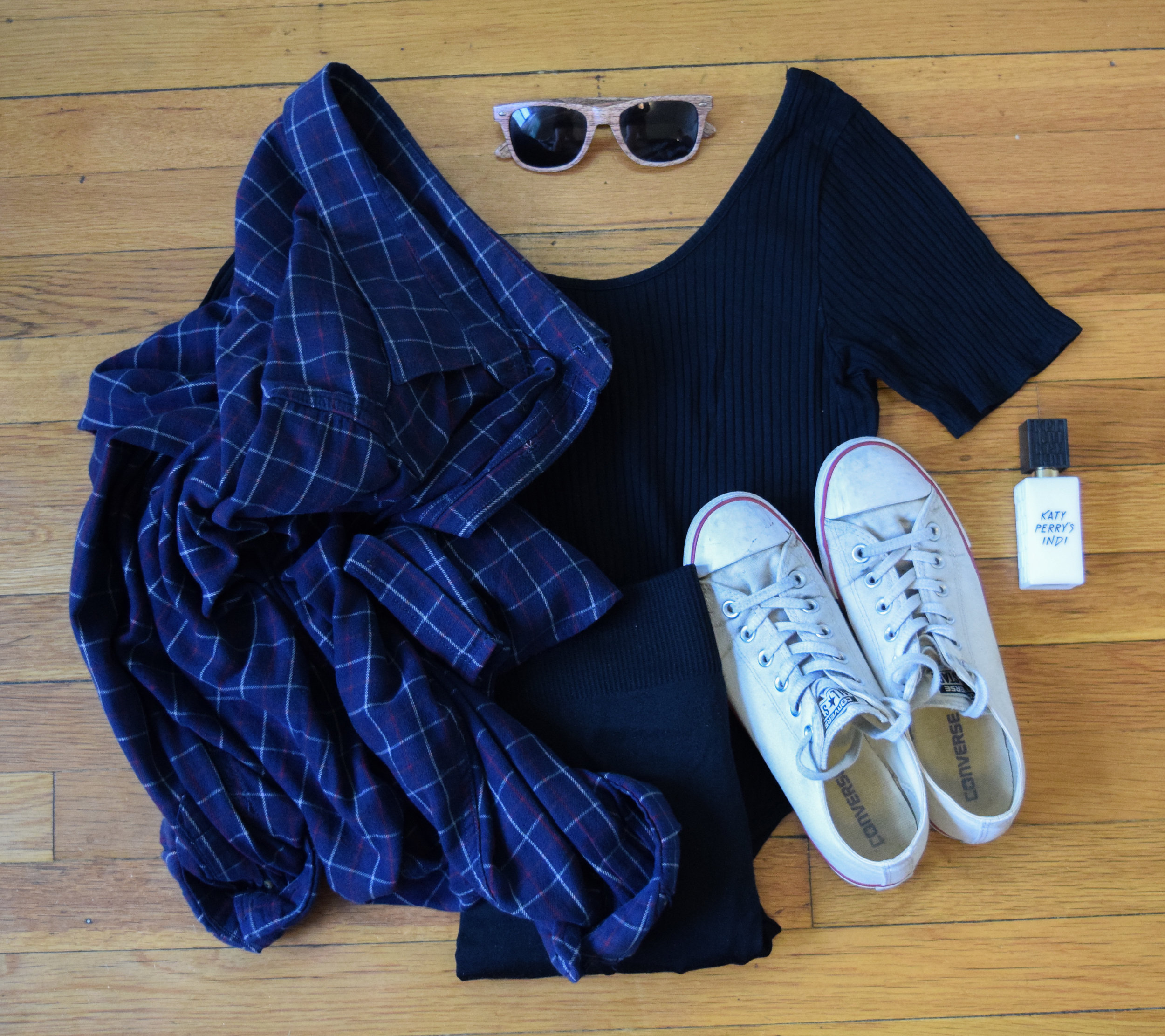 flannel (from my dad!).  bodysuit . leggings (no clue, i'm so sorry!).  sneakers .  sunglasses  (mine are lighter).  perfume .