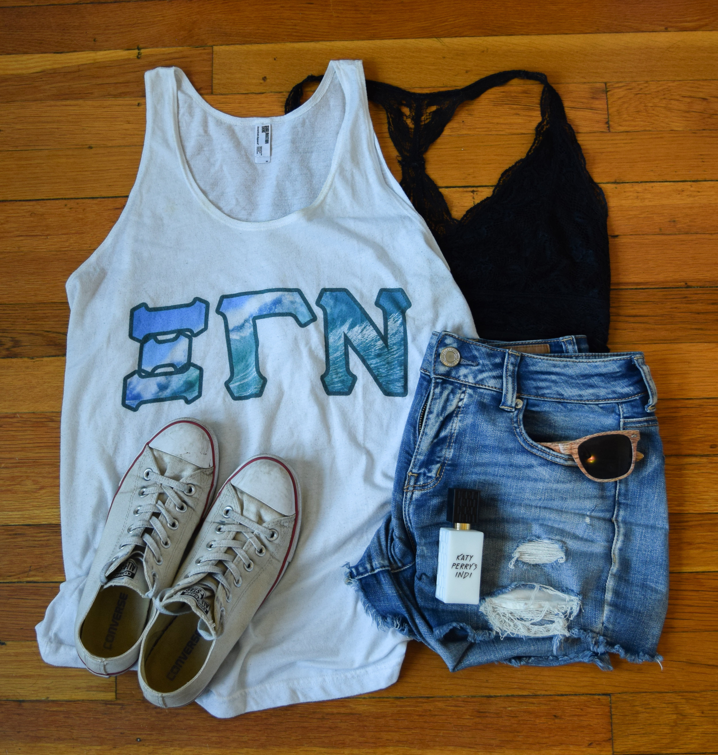 tank .  bralette .  shorts .  sneakers .  sunglasses  (mine are lighter!).  perfume .