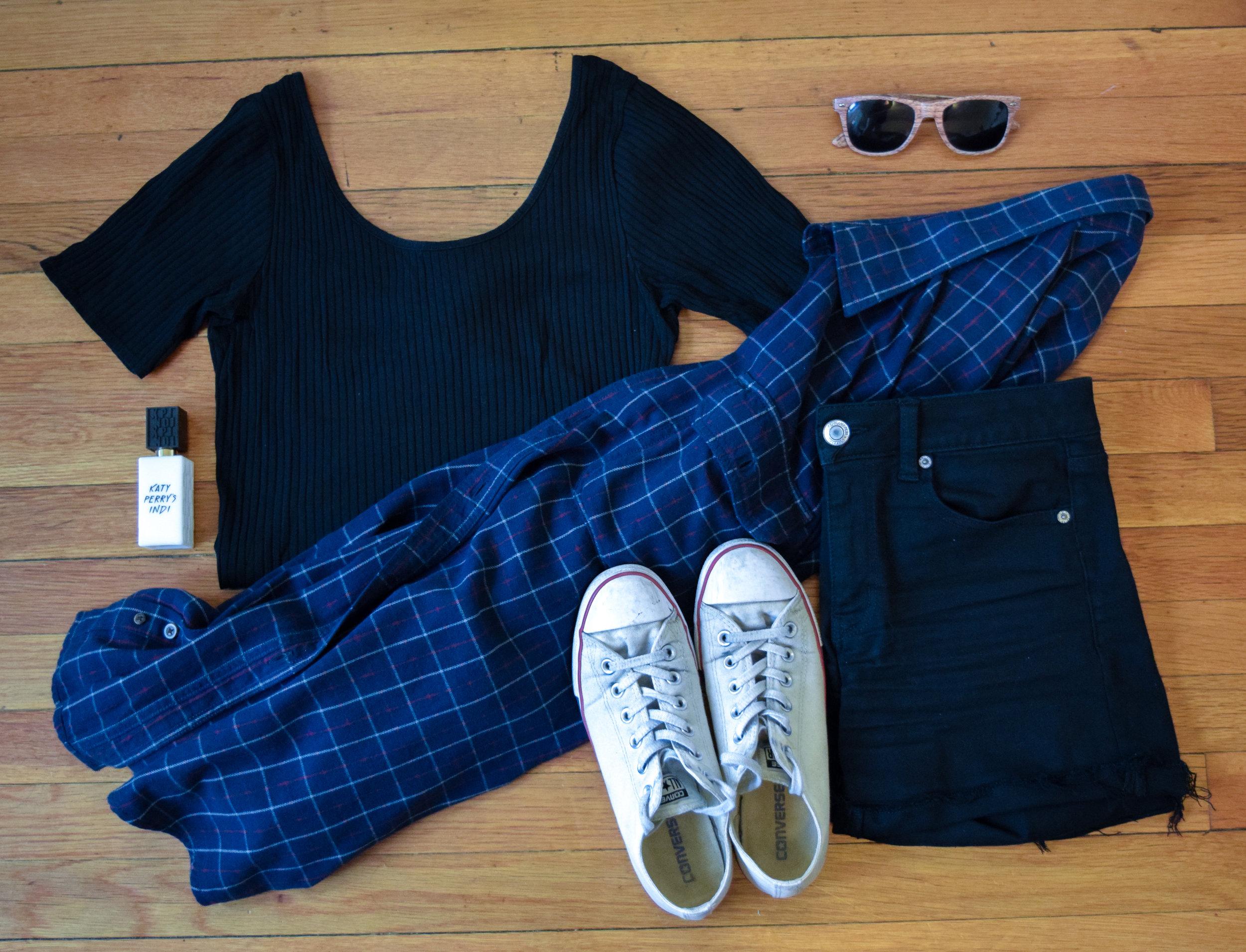 flannel (it's my dad's so i don't know, i'm sorry!).  bodysuit .  shorts .  sneakers .  perfume .  sunglasses  (similar, mine are lighter!).