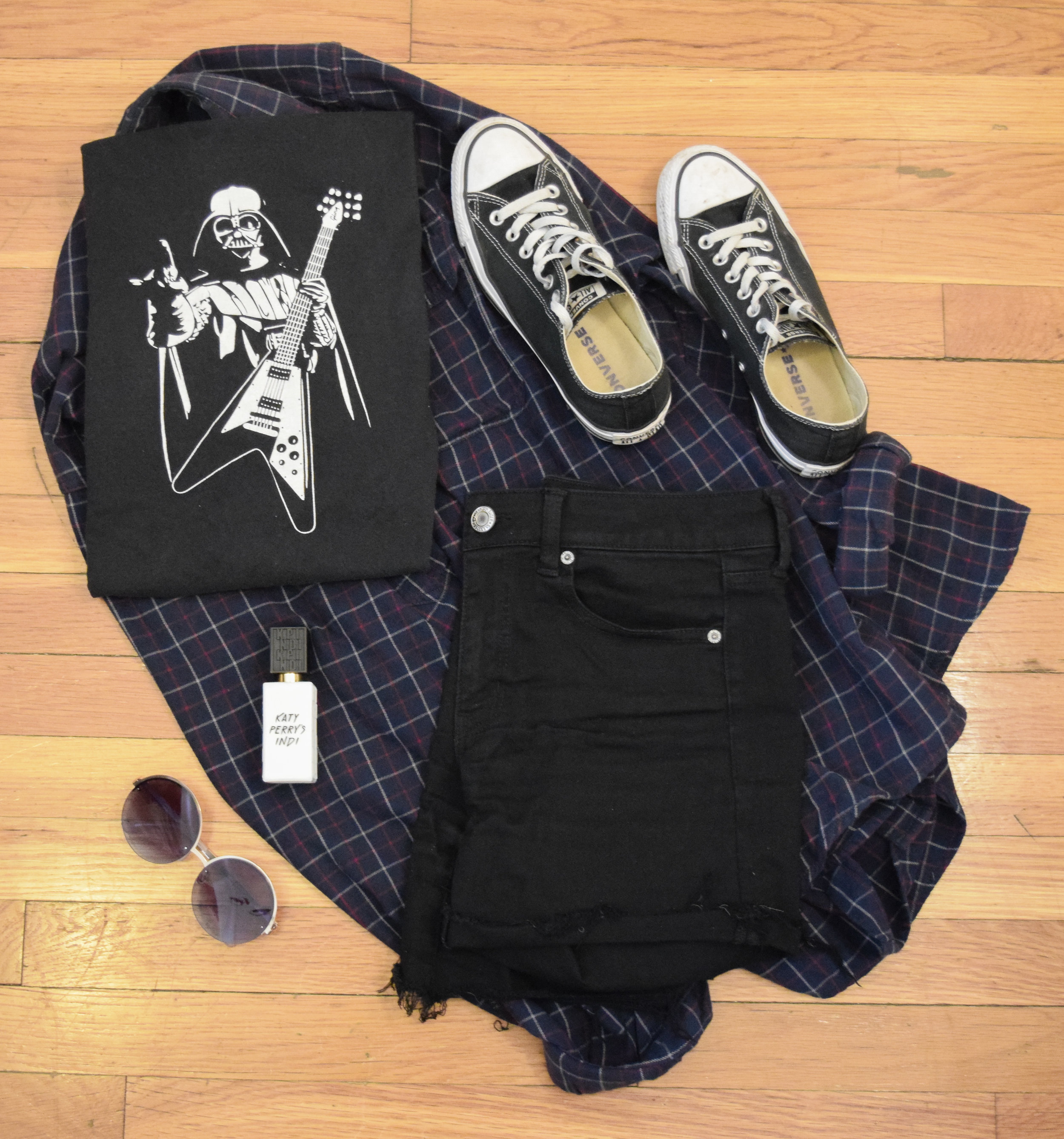 shirt .  shorts . flannel (my dad's, sorry!).  sneakers .  perfume .  sunglasses .