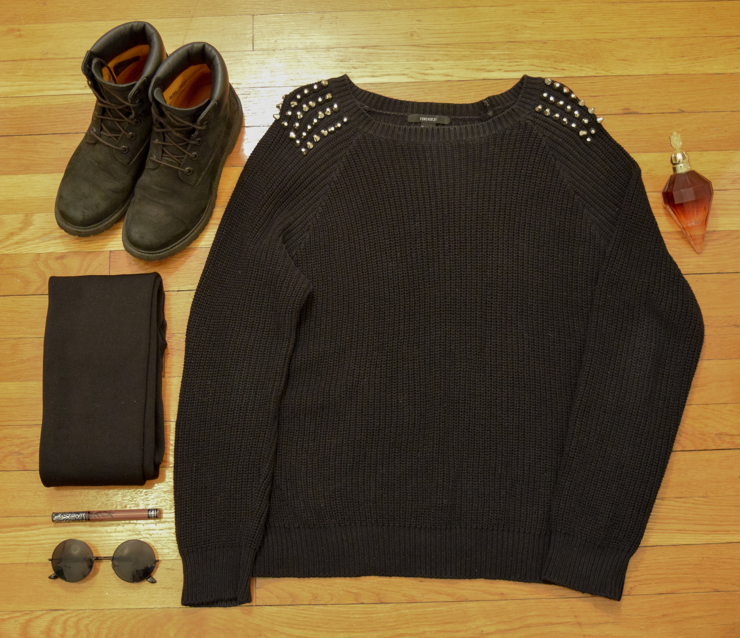 sweater (no longer being sold at  dELiA*s ).  leggings .  boots .  perfume .  lipstick  (in Sanctuary).  sunglasses  (get 25% off with my code CLUNKSTER25!).