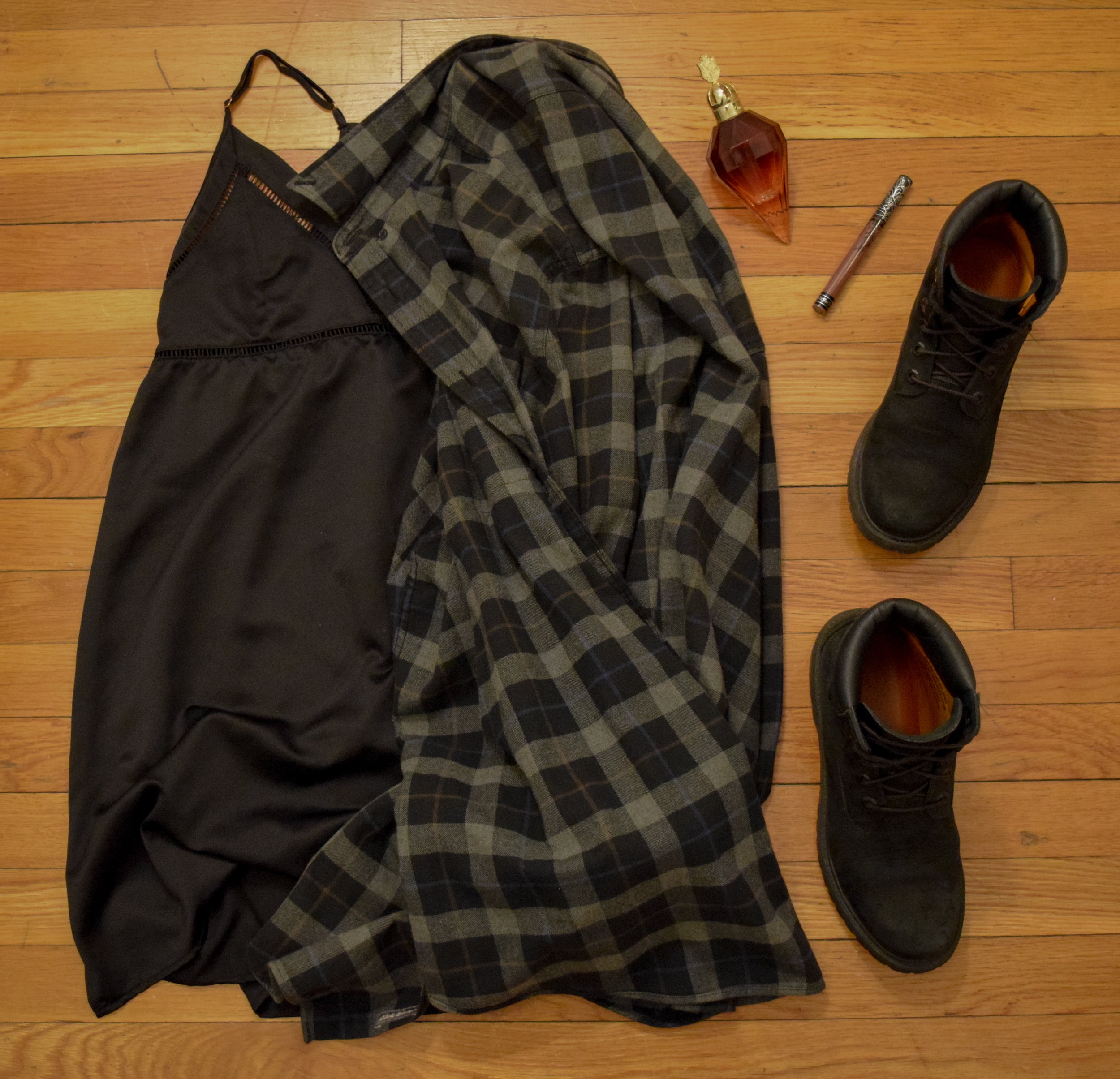 slip  (similar). flannel (from  Eddie Bauer ).  boots .  perfume .  lipstick  (in Sanctuary).